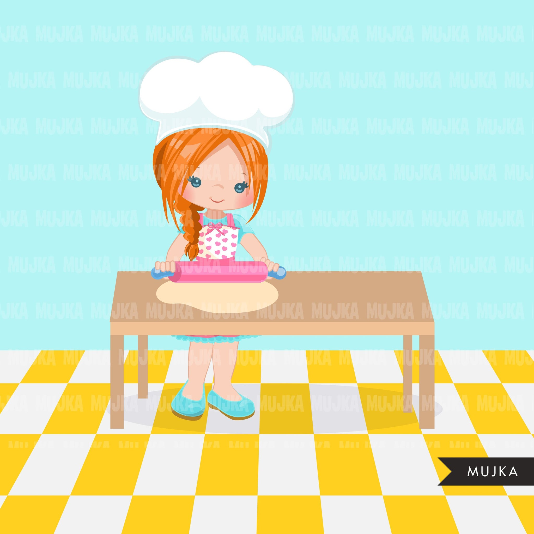 Baking Clipart, cute pastry chef with rolling pin , little girl graphics