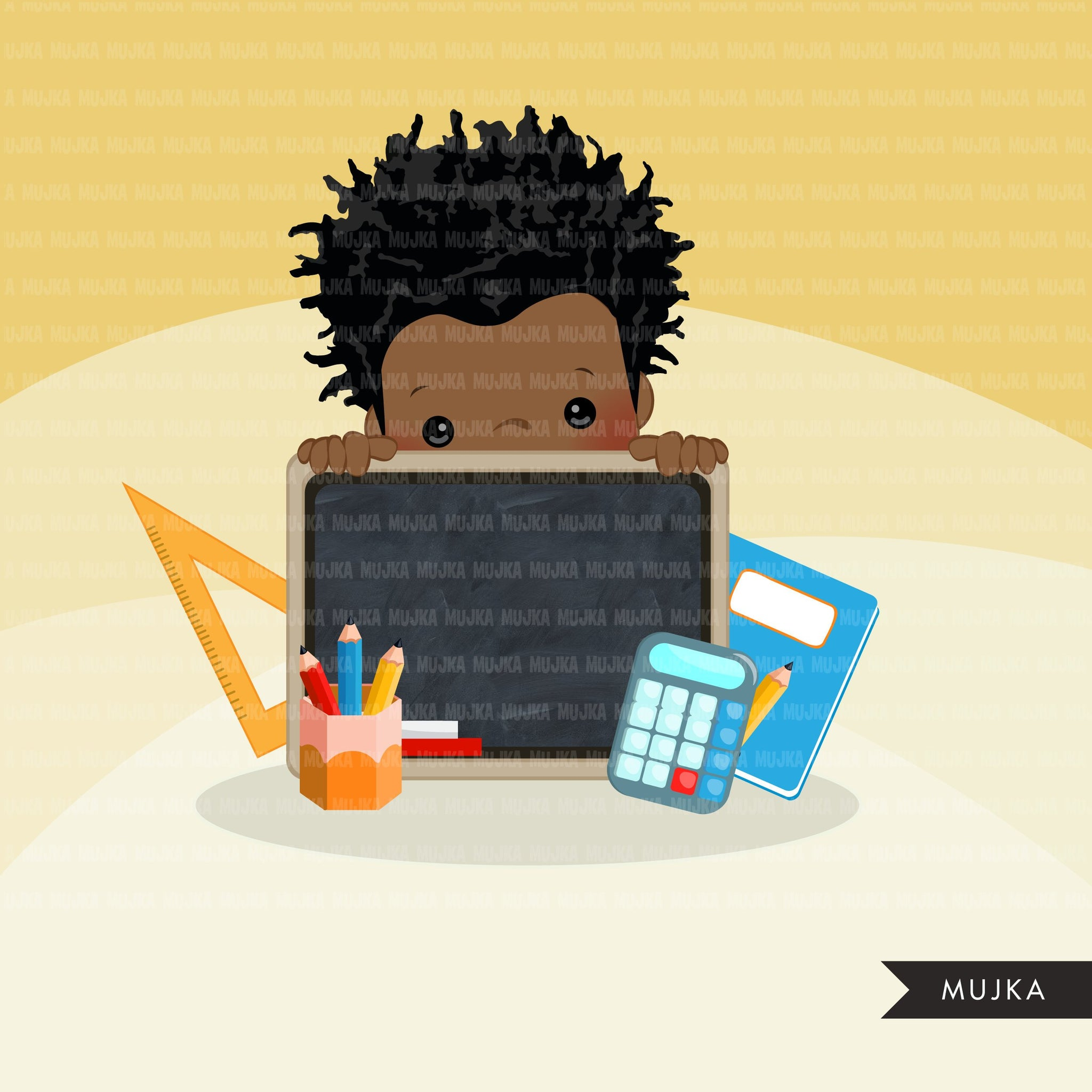 Back to school clipart peeking dark skin students Afro and boy students black board, Education, teaching graphics, PRE-K, grade 1