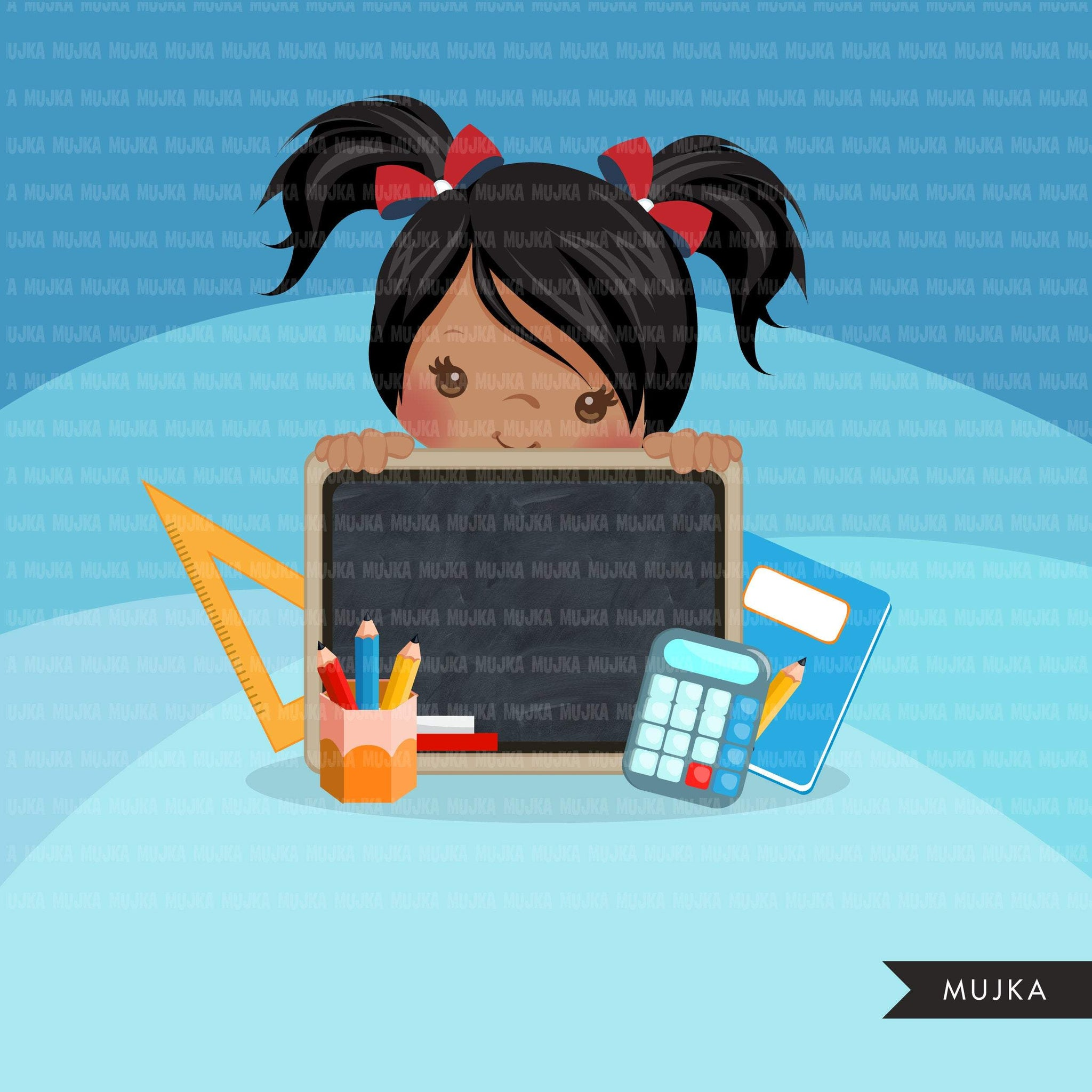 Back to school clipart peeking students Girl with black board, Education, teaching graphics, PRE-K, grade 1