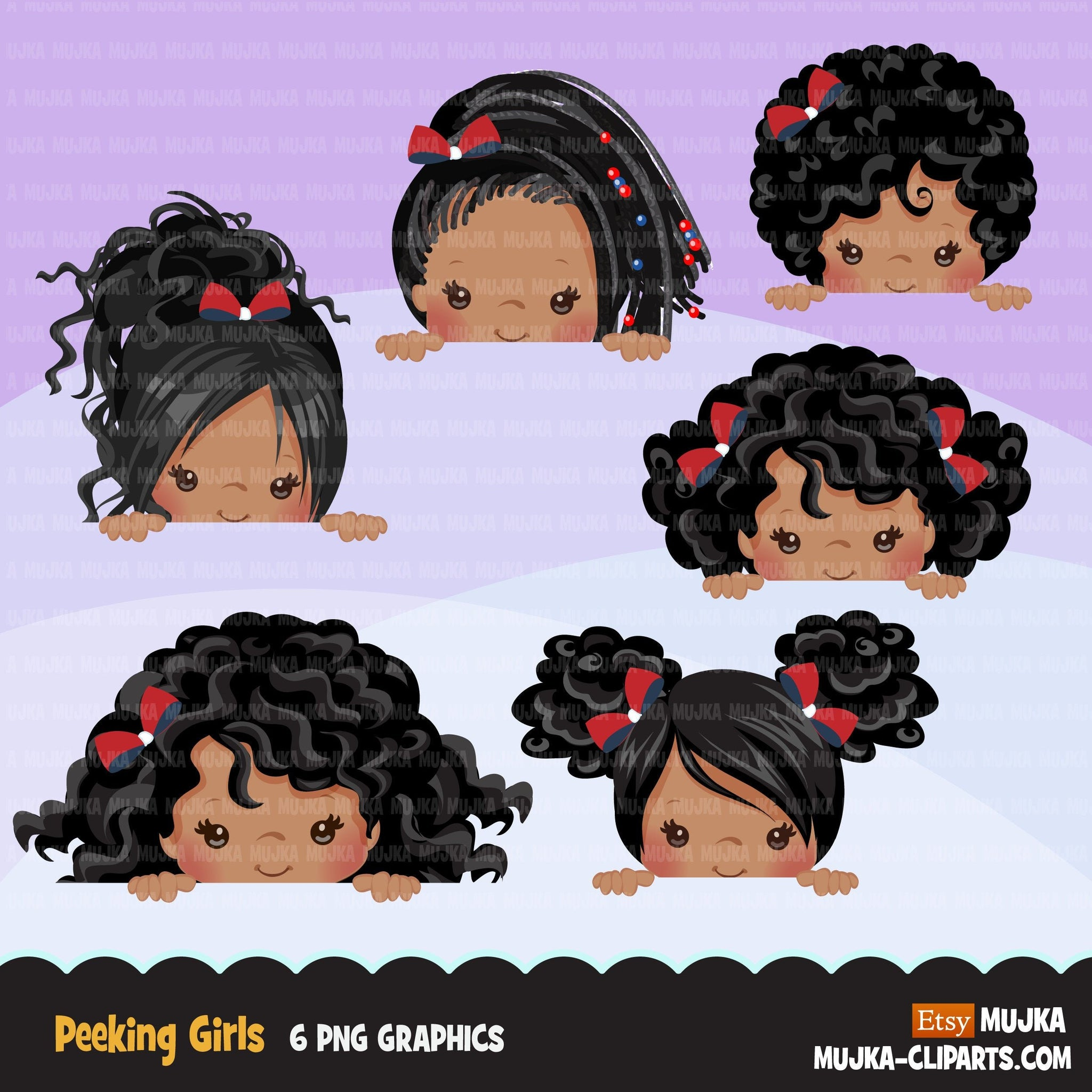 Peeking Girls Clipart black afro girls
