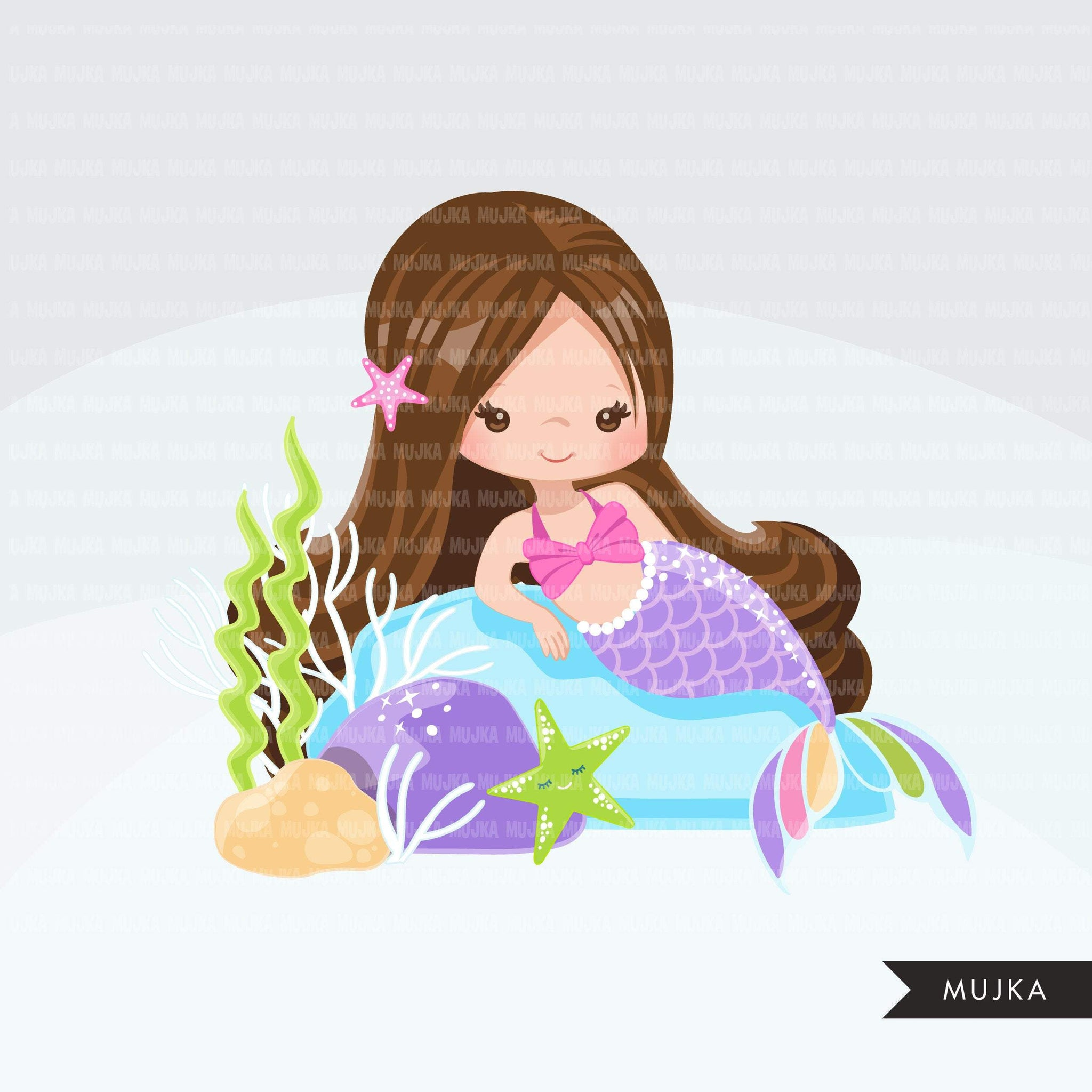 Mermaid clipart, pastel rainbow mermaid graphics, girls, summer