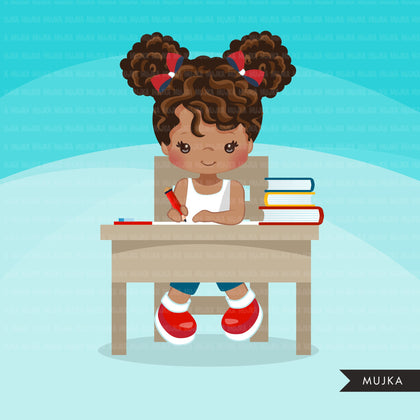 Back to school clipart with black Girl students sitting on a desk