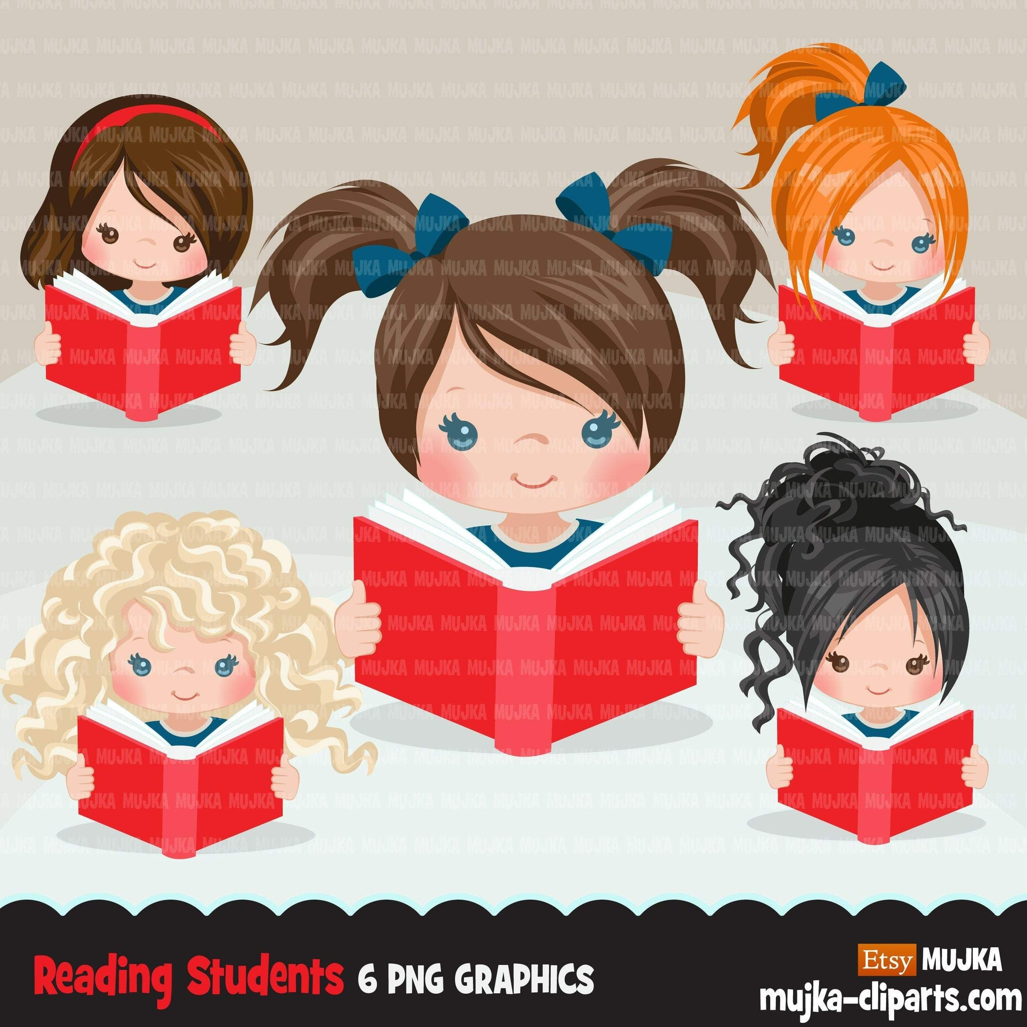 Reading clipart, school activity, back to school student girl graphics, planner sticker, bookworm, reading activity