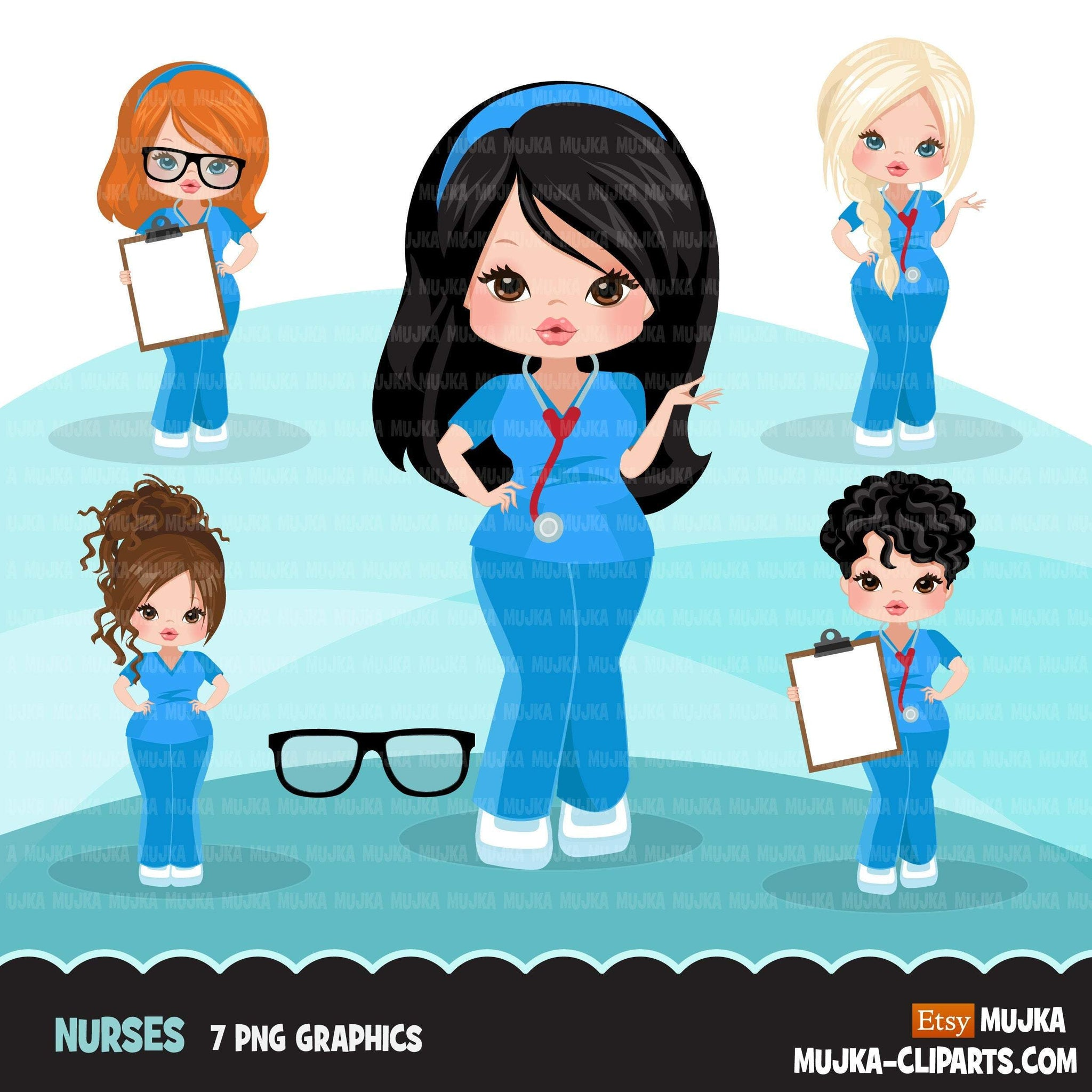 Nurse clipart with scrubs, patient chart graphics, print and cut PNG T-Shirt Designs, Medical clip art
