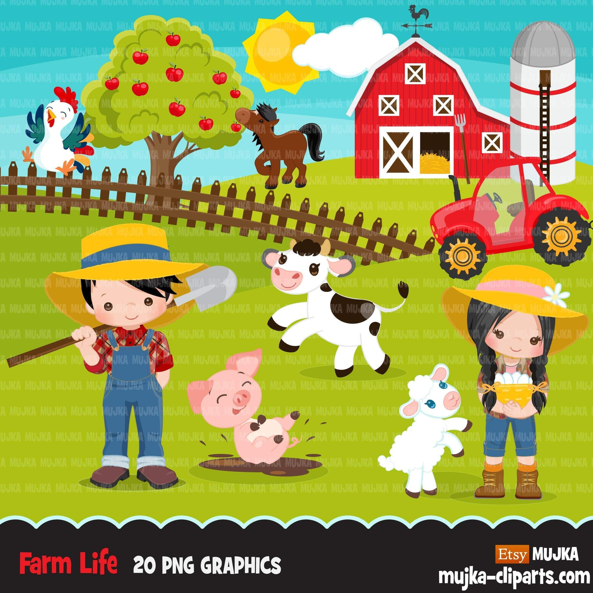 Farm clipart , farm animals, farmers, tractor, red barn, pig, chicken, cow, horse clip art graphics