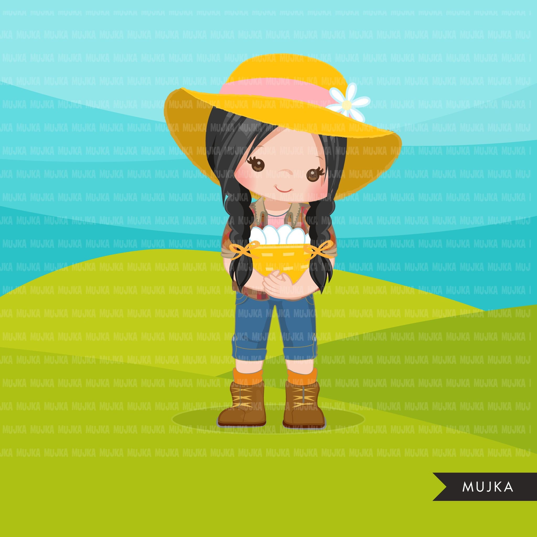Farmer Girls clipart, farmer characters with basket of eggs, farmer hat, country graphics, country girl with hat