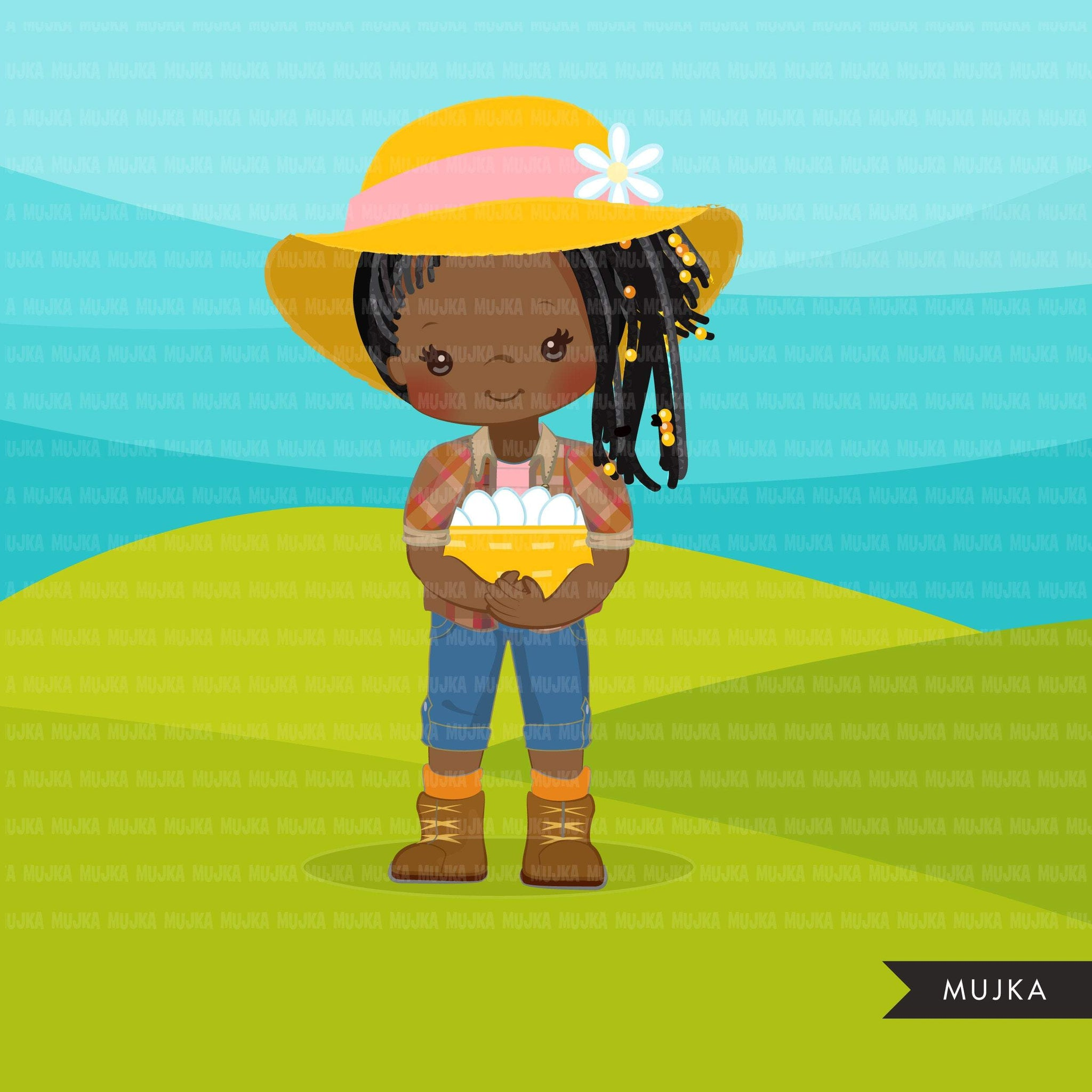 Afro black Farmer Girls clipart, farmer characters with basket of eggs, farmer hat, country graphics, country girl with hat