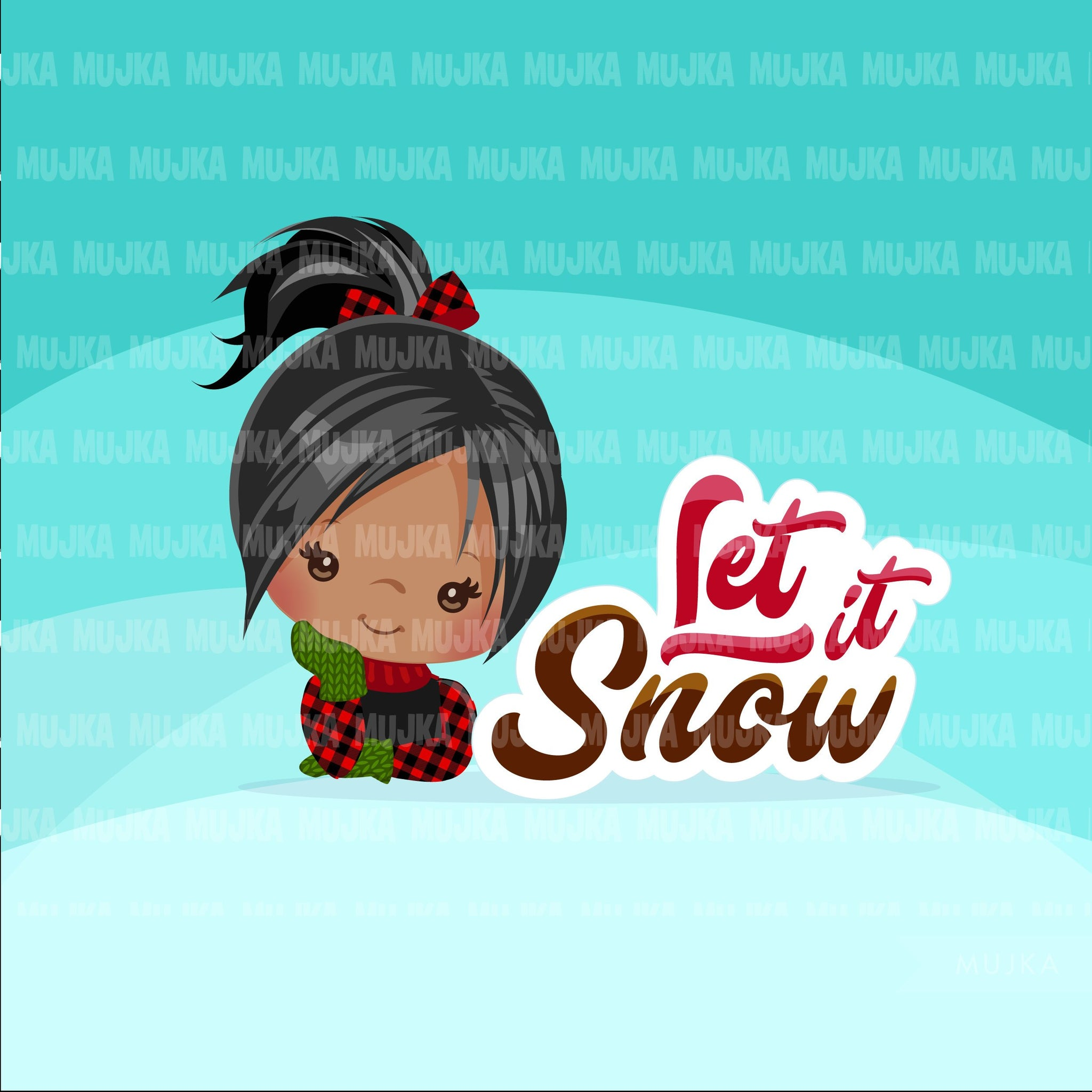 Christmas clipart, let it snow Cute girls with plaid and noel frame, Holiday graphics, clip art