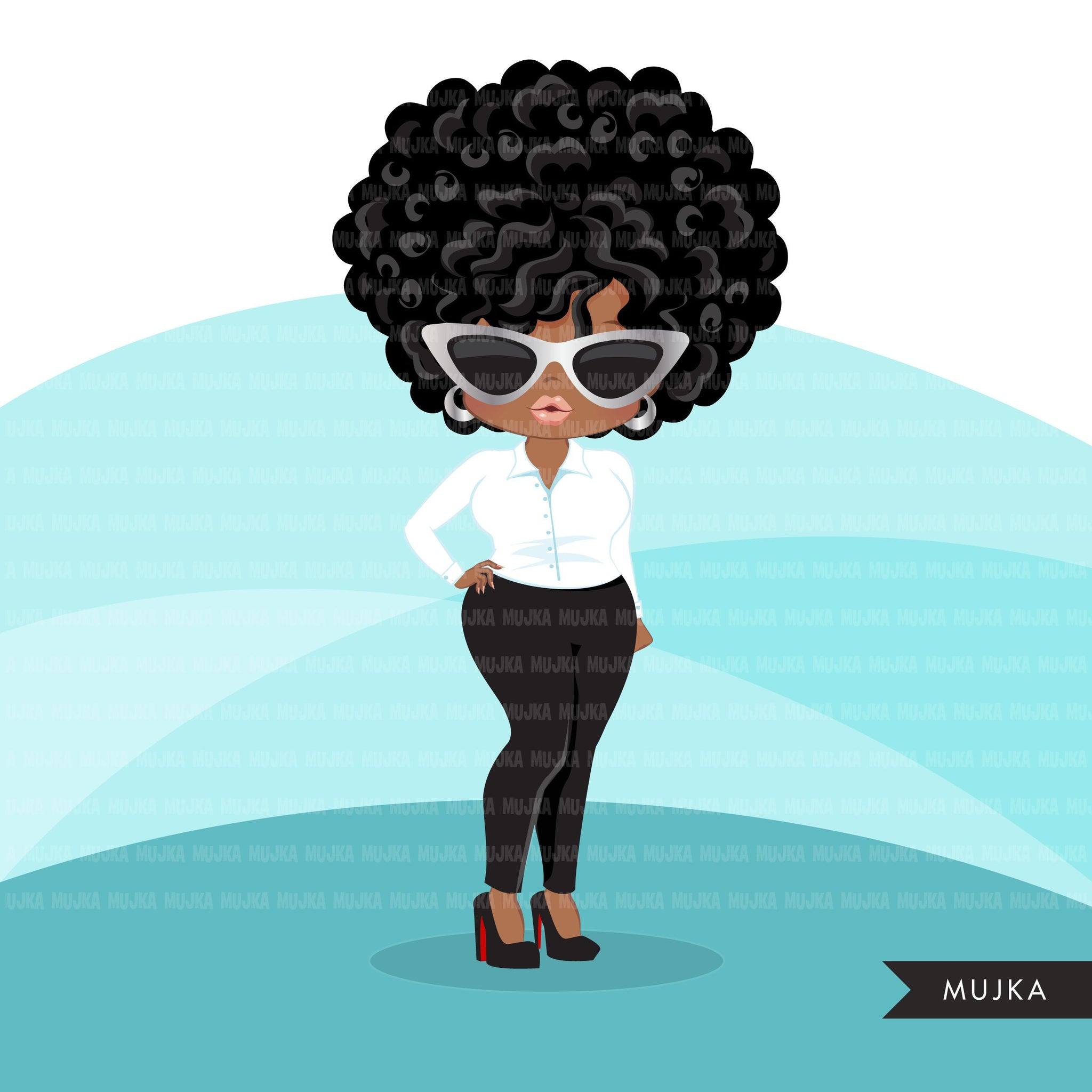 Afro black woman clipart with business suit, briefcase and glasses