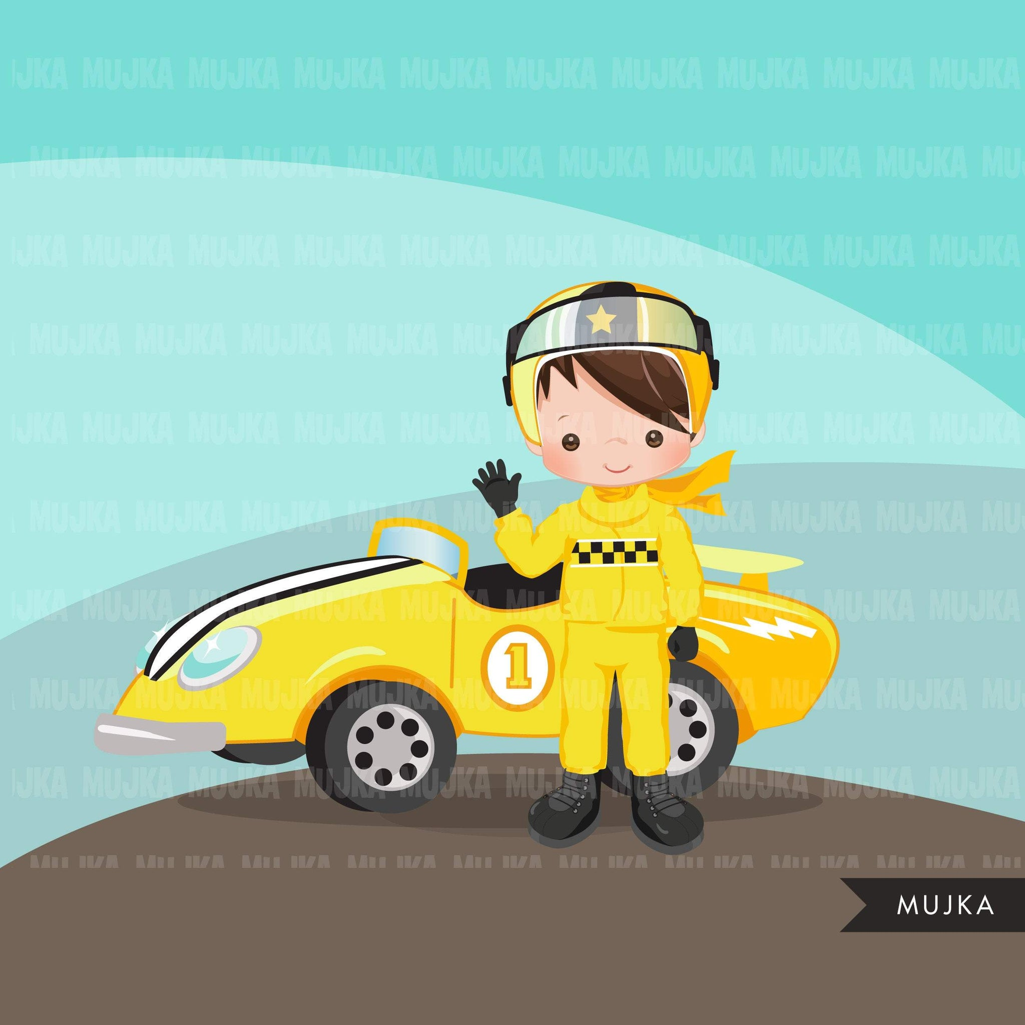 Car Racing Clipart, yellow car racer boy, formula 1