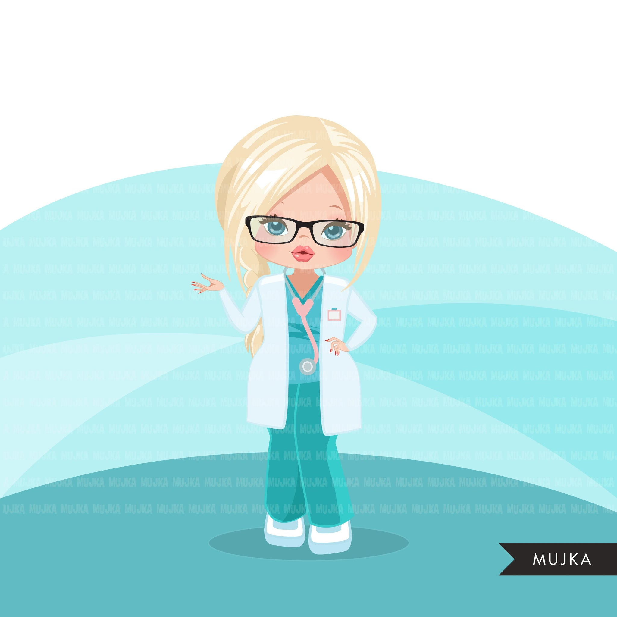 Doctor clipart with scrubs , patient chart graphics, print and cut PNG T-Shirt Designs, Medical clip art