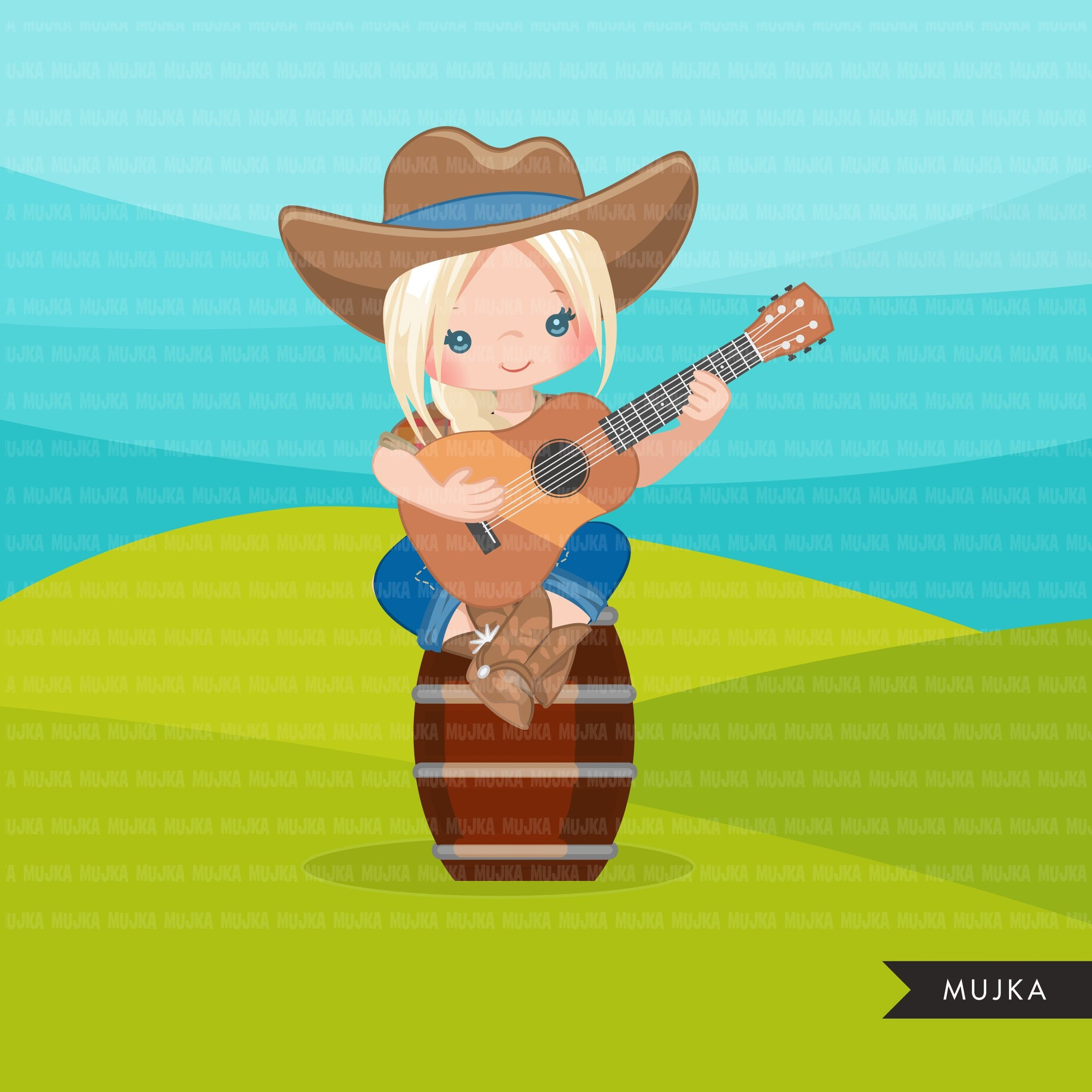 Cowgirl with guitar clipart, farmer characters country farm graphics, fall