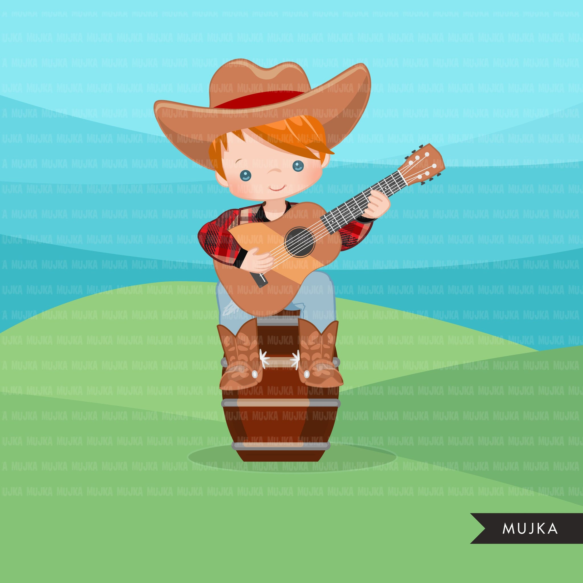 Cowboy with guitar clipart, farmer characters country farm graphics, fall