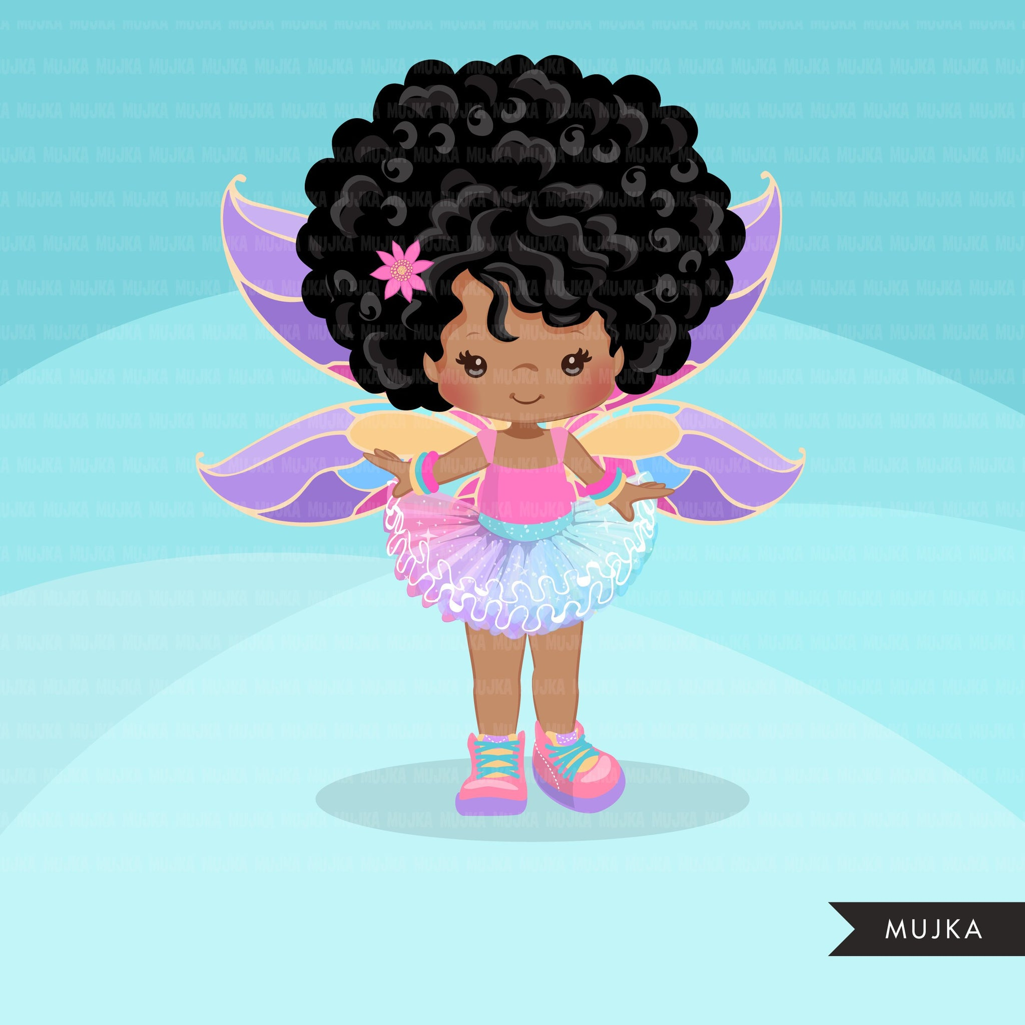 Afro dark skin Butterfly tutu clipart, butterfly wings girl with pastel tutu graphics summer