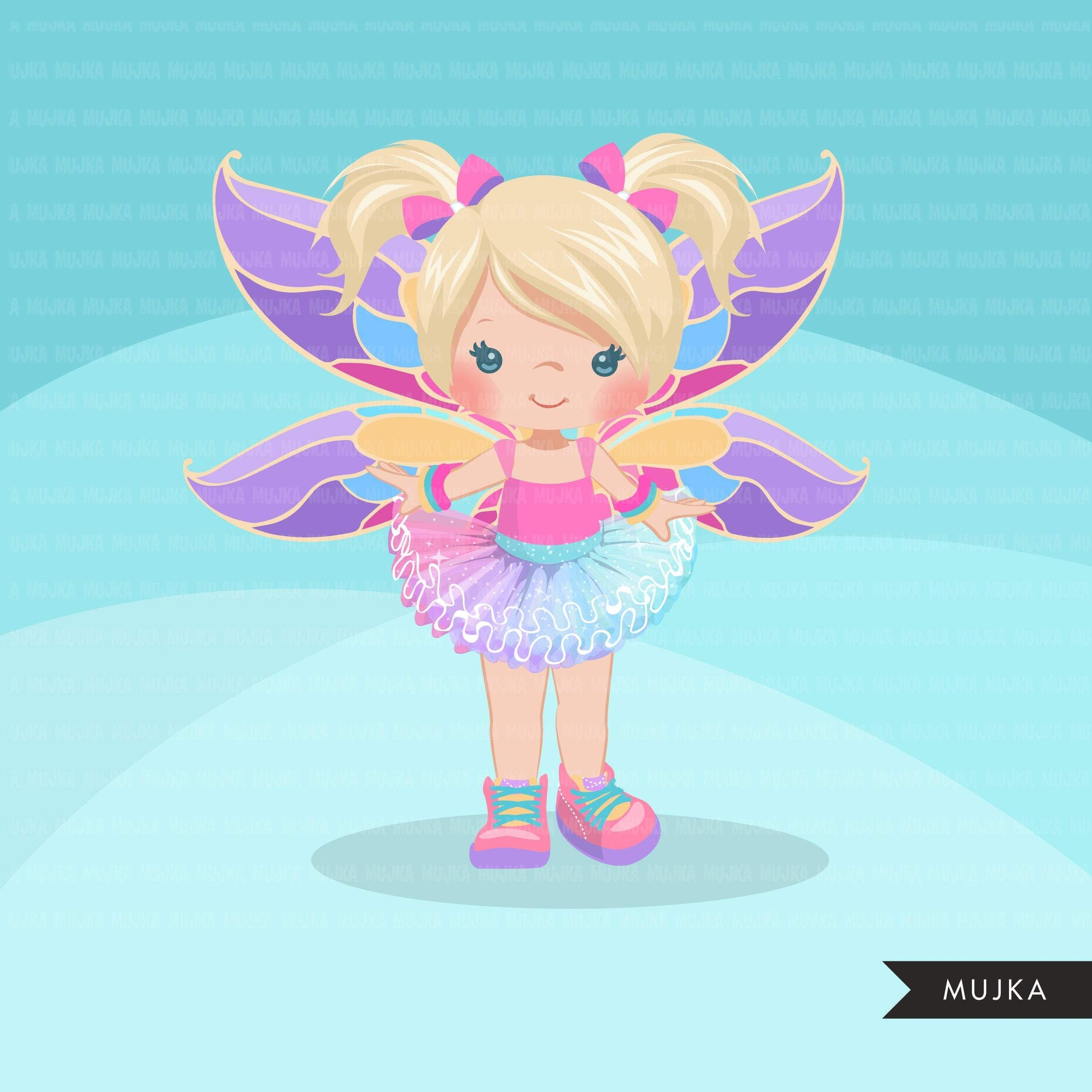 Butterfly tutu clipart, butterfly wings girl with pastel tutu graphics, summer, spring