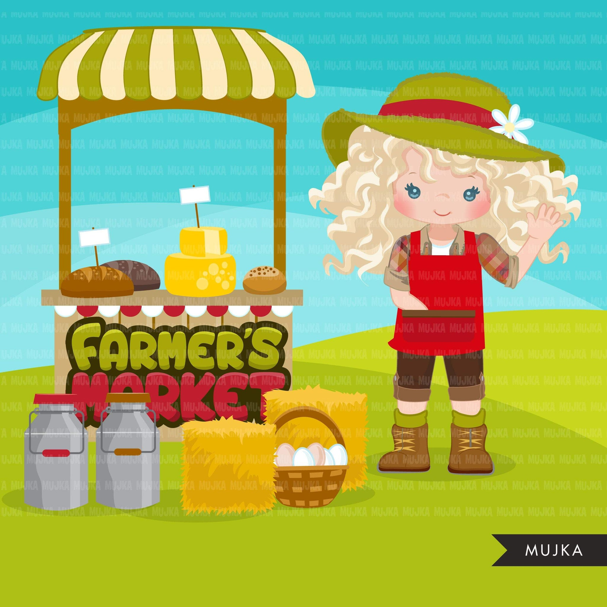 Farmer's Market clipart girl graphics, cute farmers, fall harvest, farm produce