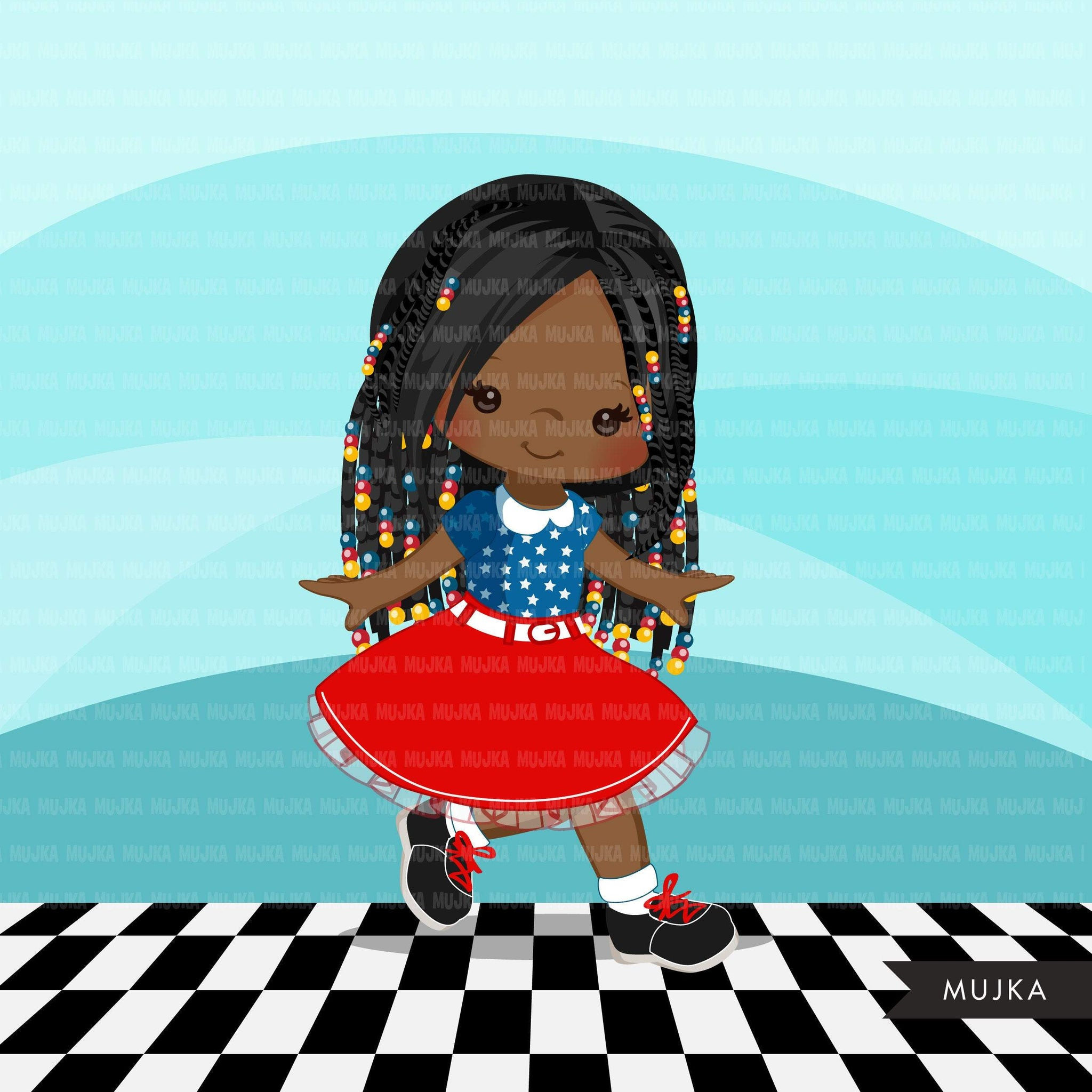 Sock Hop Party 4th of July Girls Clipart, Afro 50's retro characters