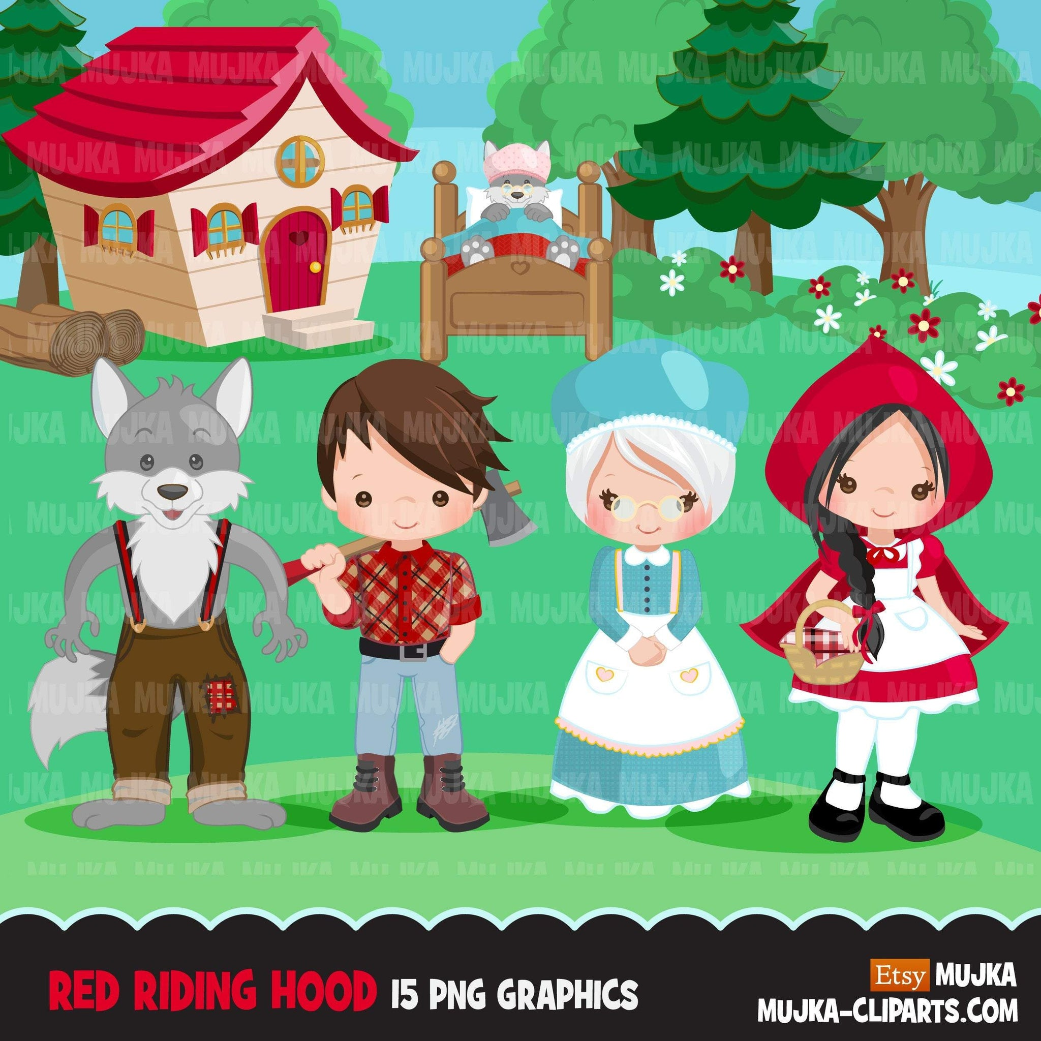 Red Riding Hood Clipart, Cute wolf, woodland, storybook graphics. Boy and girl fairy tale illustrations