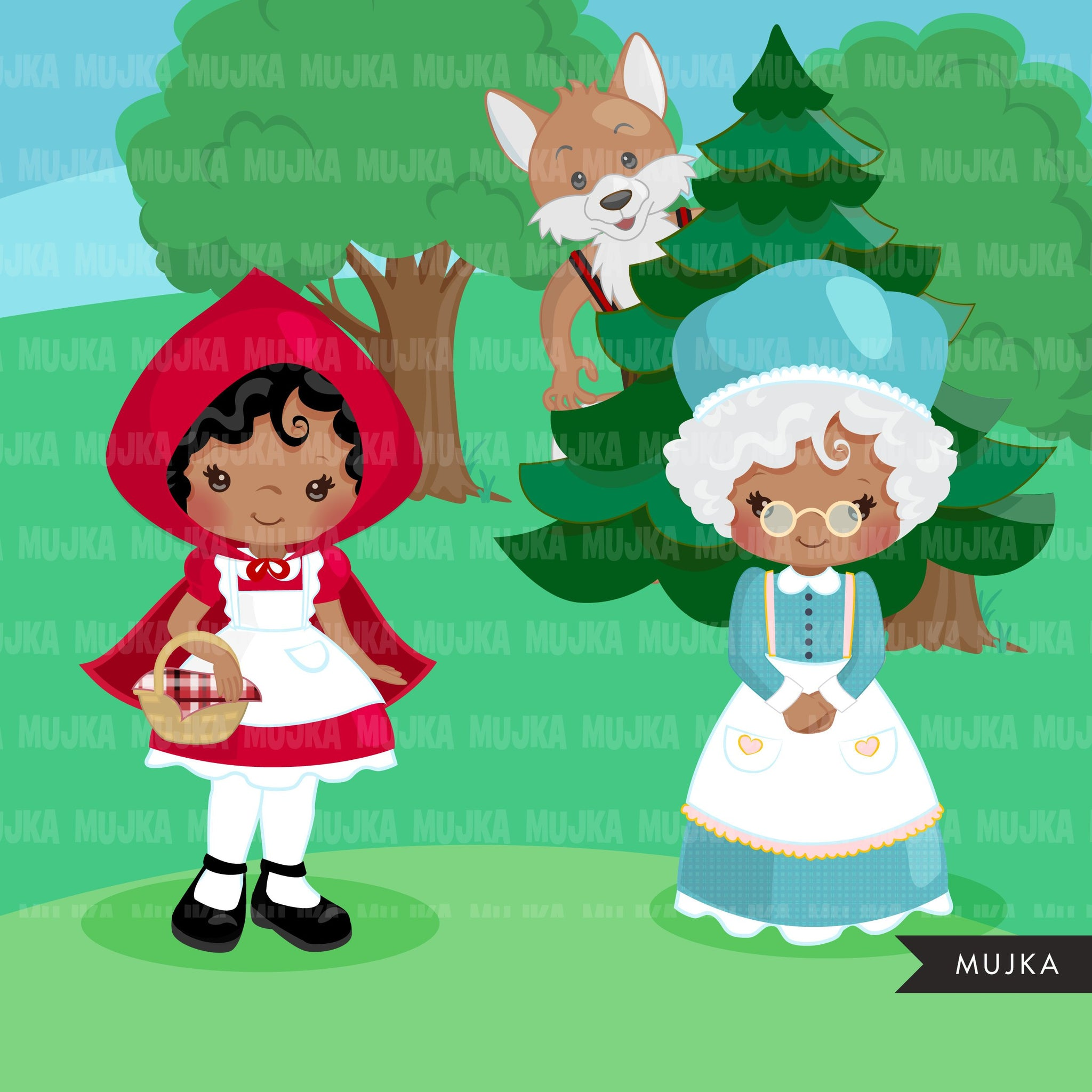 Afro black Red Riding Hood Clipart, Cute wolf, woodland, storybook graphics, Dark skin Boy and girl fairy tale illustrations