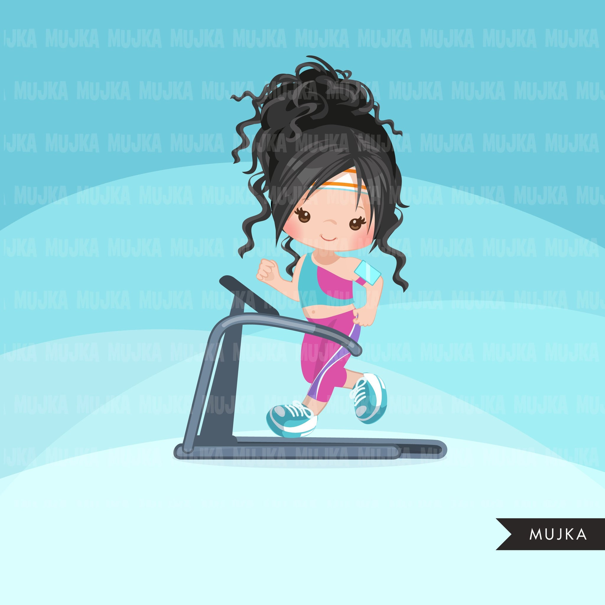 Fitness clipart, girls on treadmill, gym, healthy life style clip art