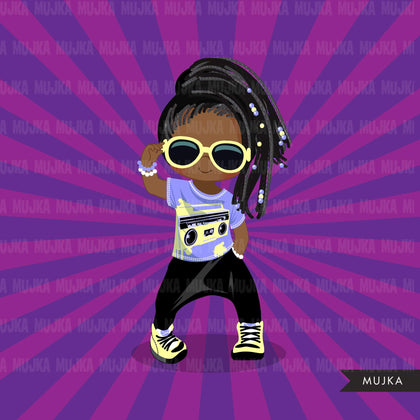 Afro Hip hop dancer girls clipart, break dance, rapping characters, card making, planner stickers, embroidery, African American clip art