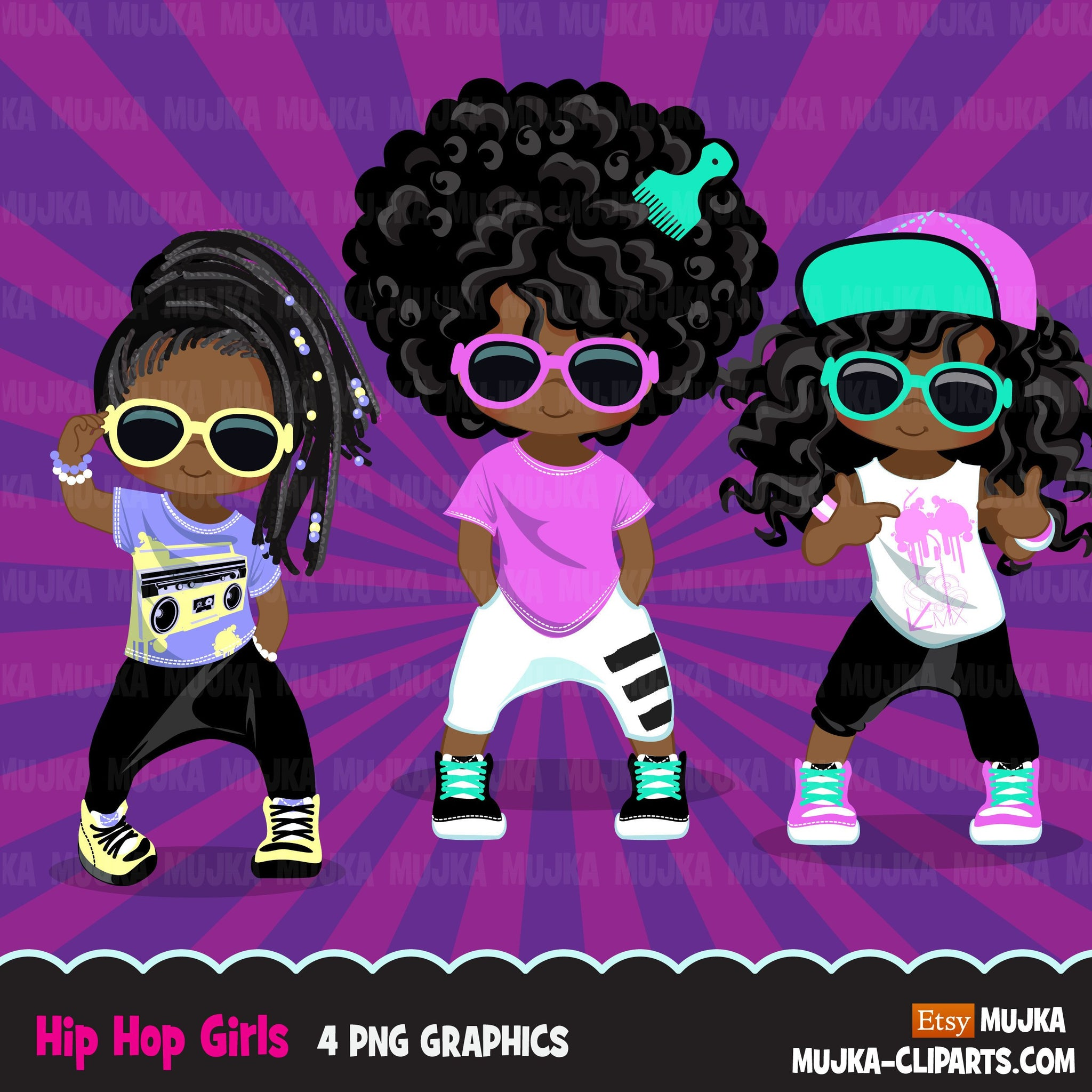 Afro black Hip hop dancer girls clipart, break dance, rapping characters, card making, planner stickers, embroidery, African American clip art