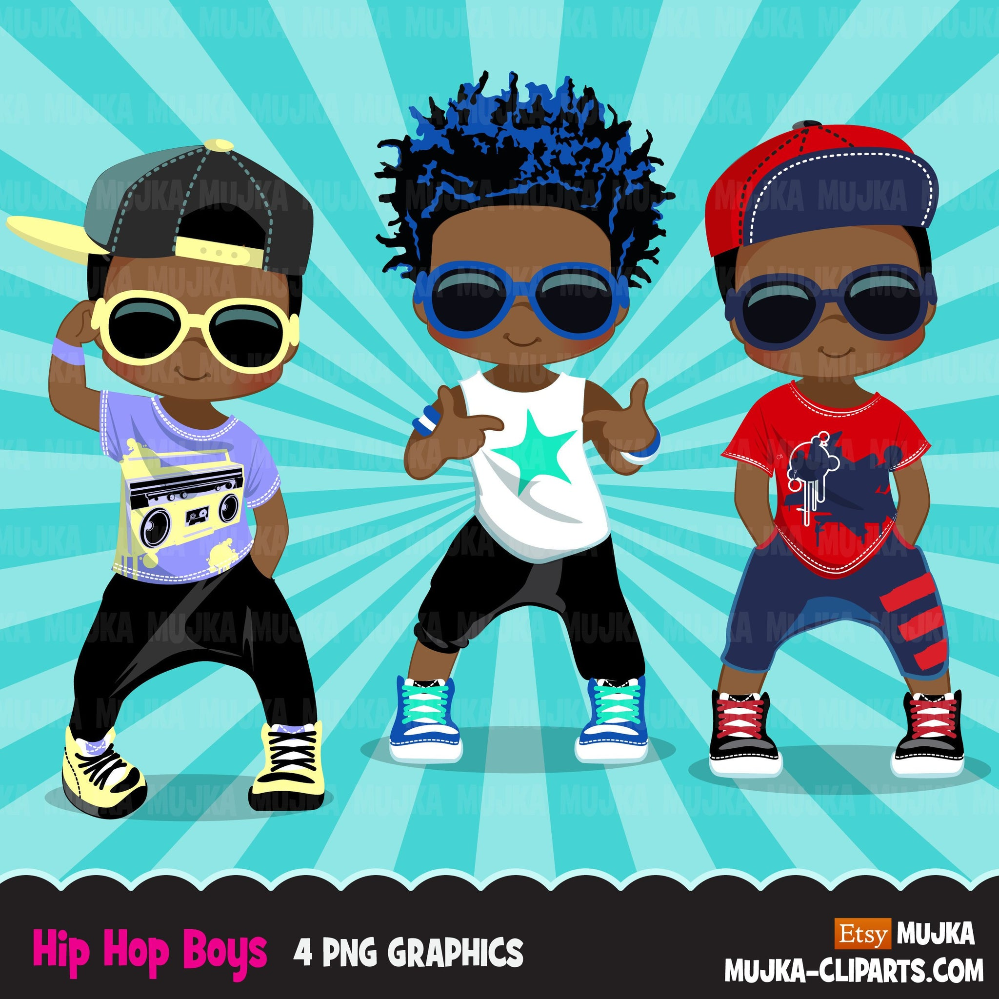 Afro black Hip hop dancer boys clipart, break dance, rapping characters, card making, planner stickers, embroidery, African American clip art
