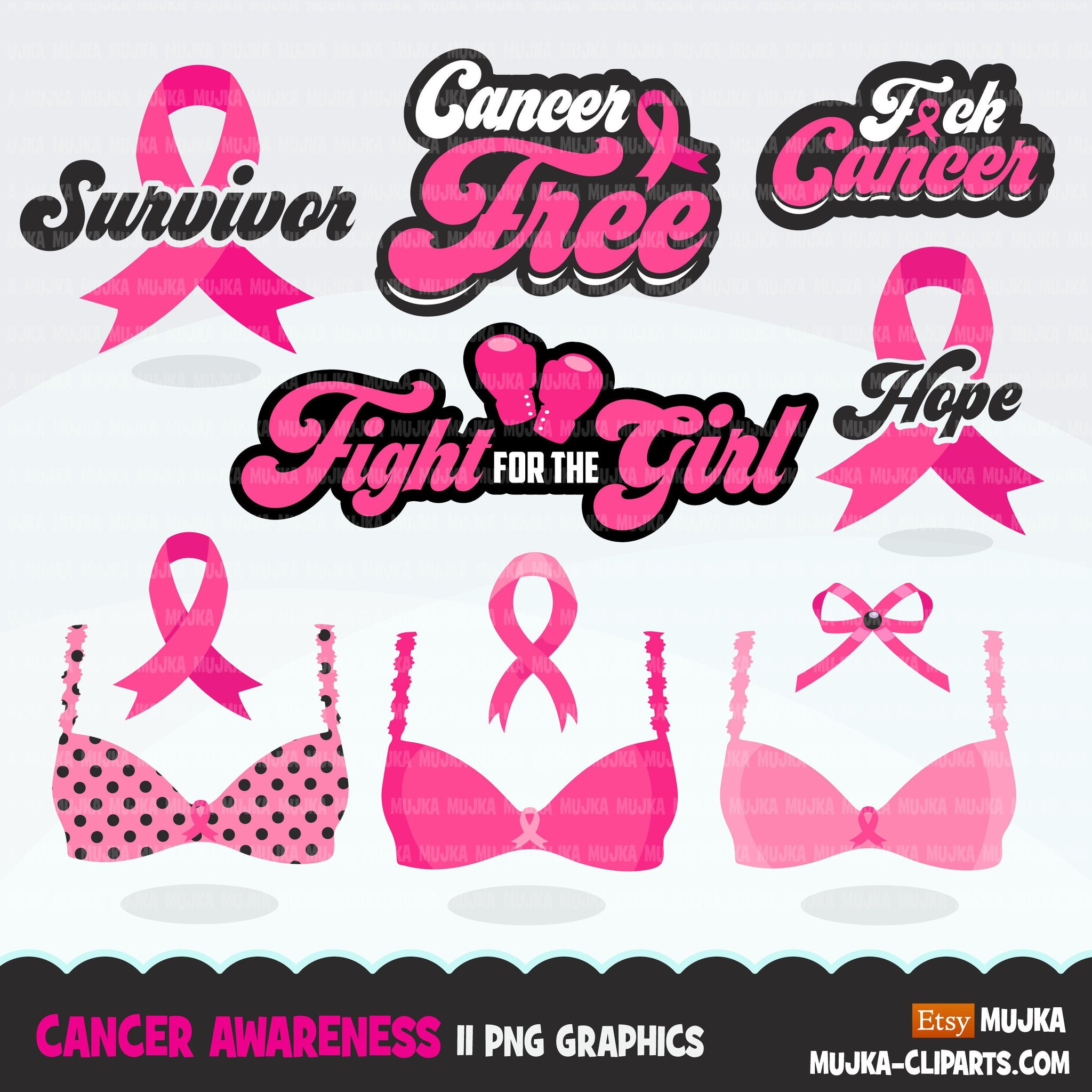 Breast Cancer awareness clipart. Pink boxing gloves, fight for the girl, pink ribbon, pink bra survivor graphics