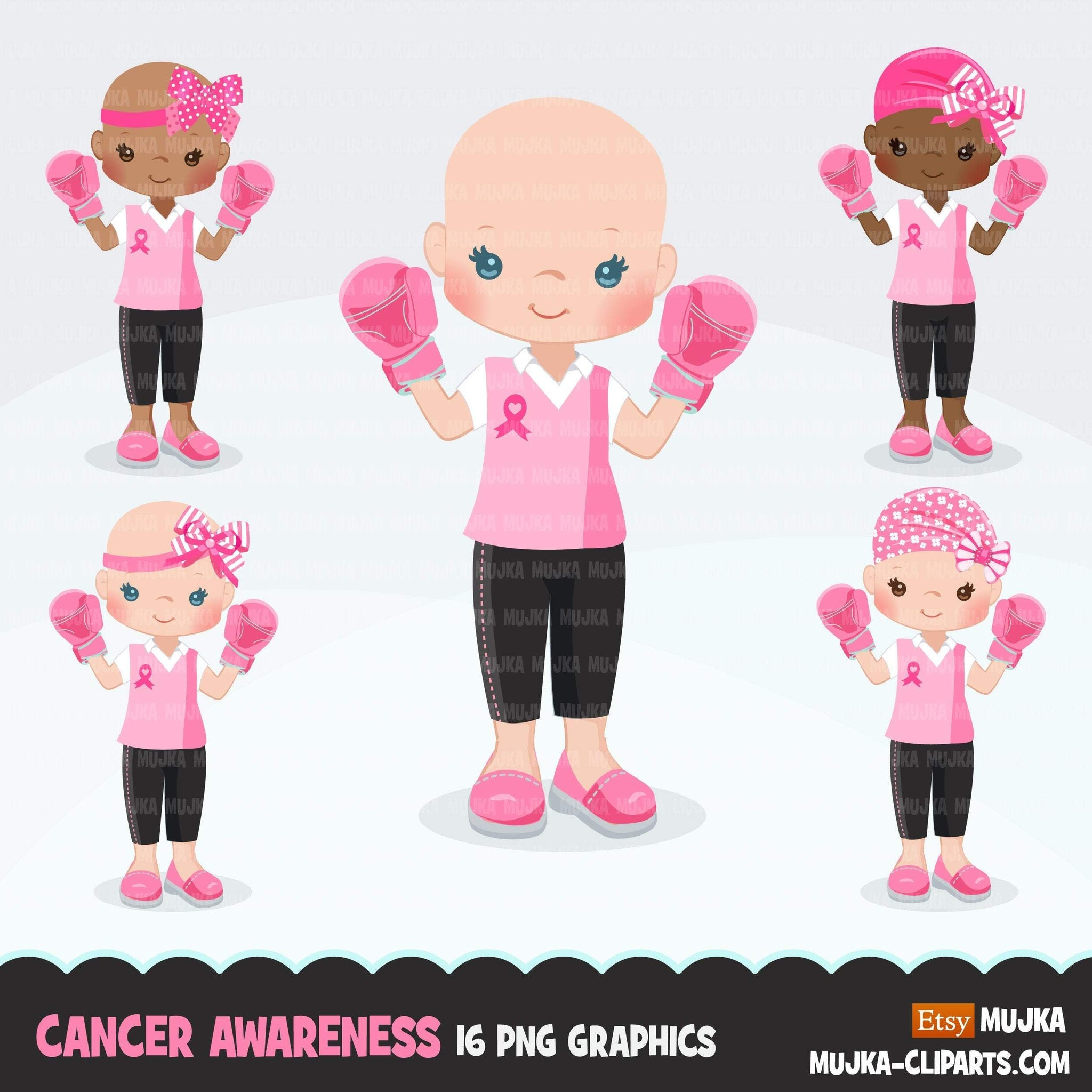 Breast Cancer awareness clipart, Pink boxing gloves, fight for the girl, pink ribbon, pink bra survivor graphics