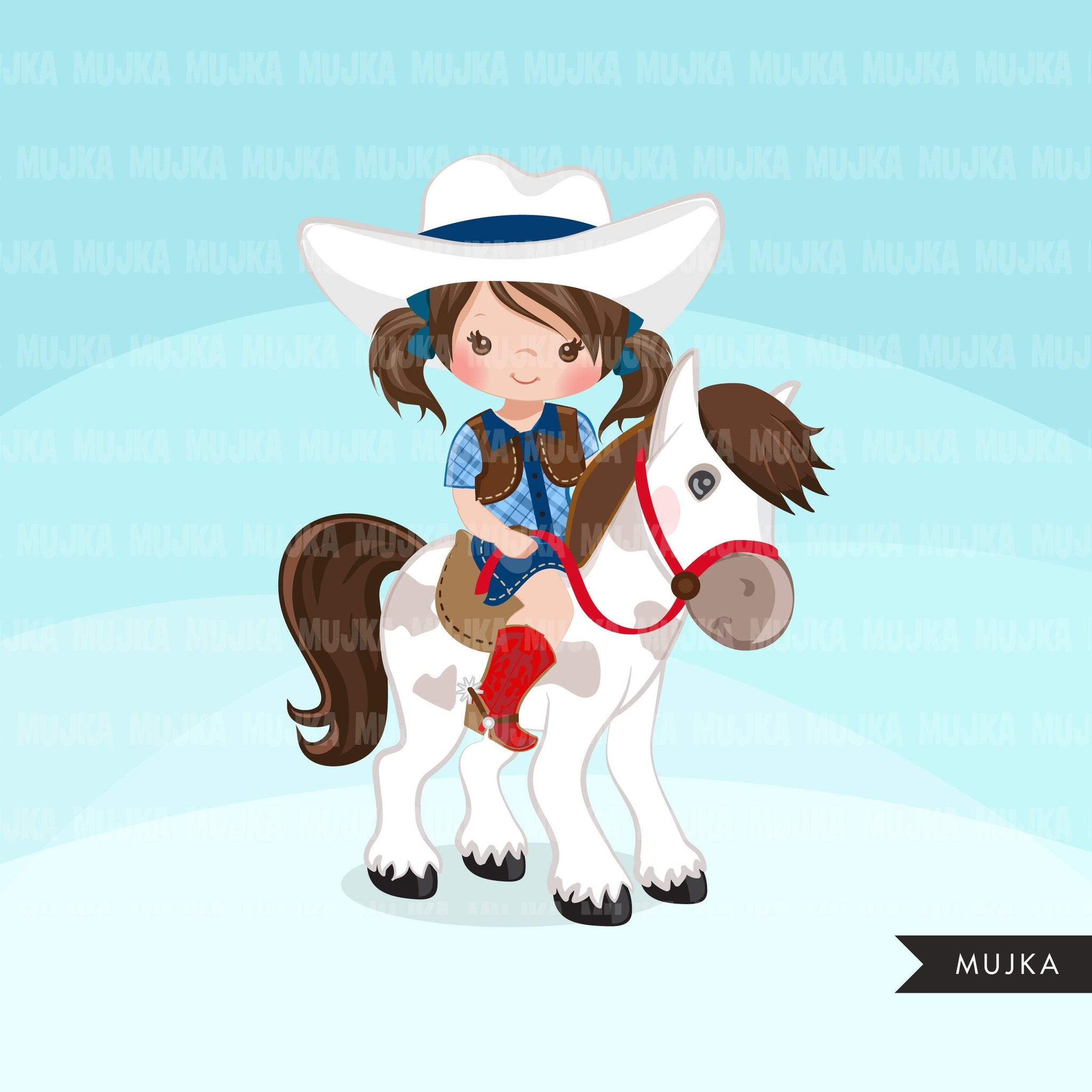 Cowgirl with horse clipart, farmer characters country farm graphics, western wild west girl clip art