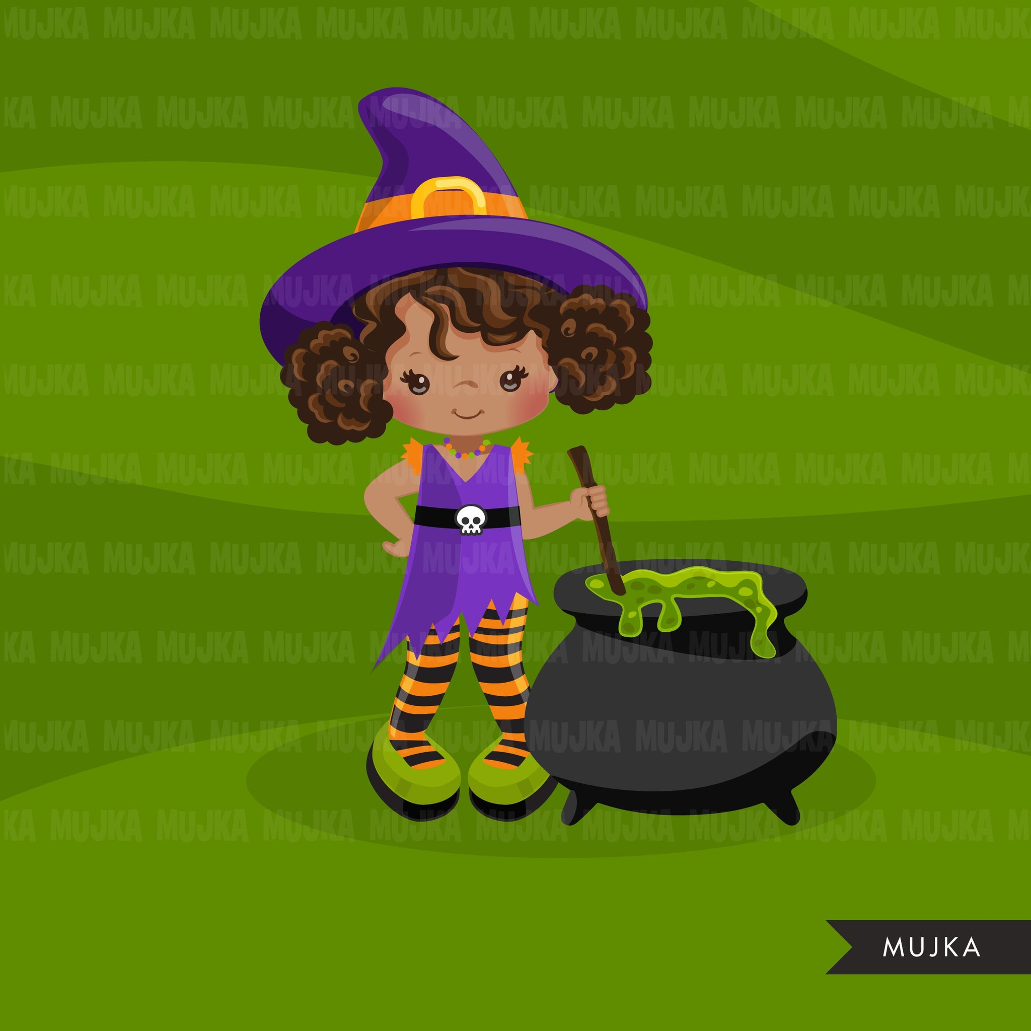 Halloween witch girls clipart. Afro Cute kids in witch costumes 2