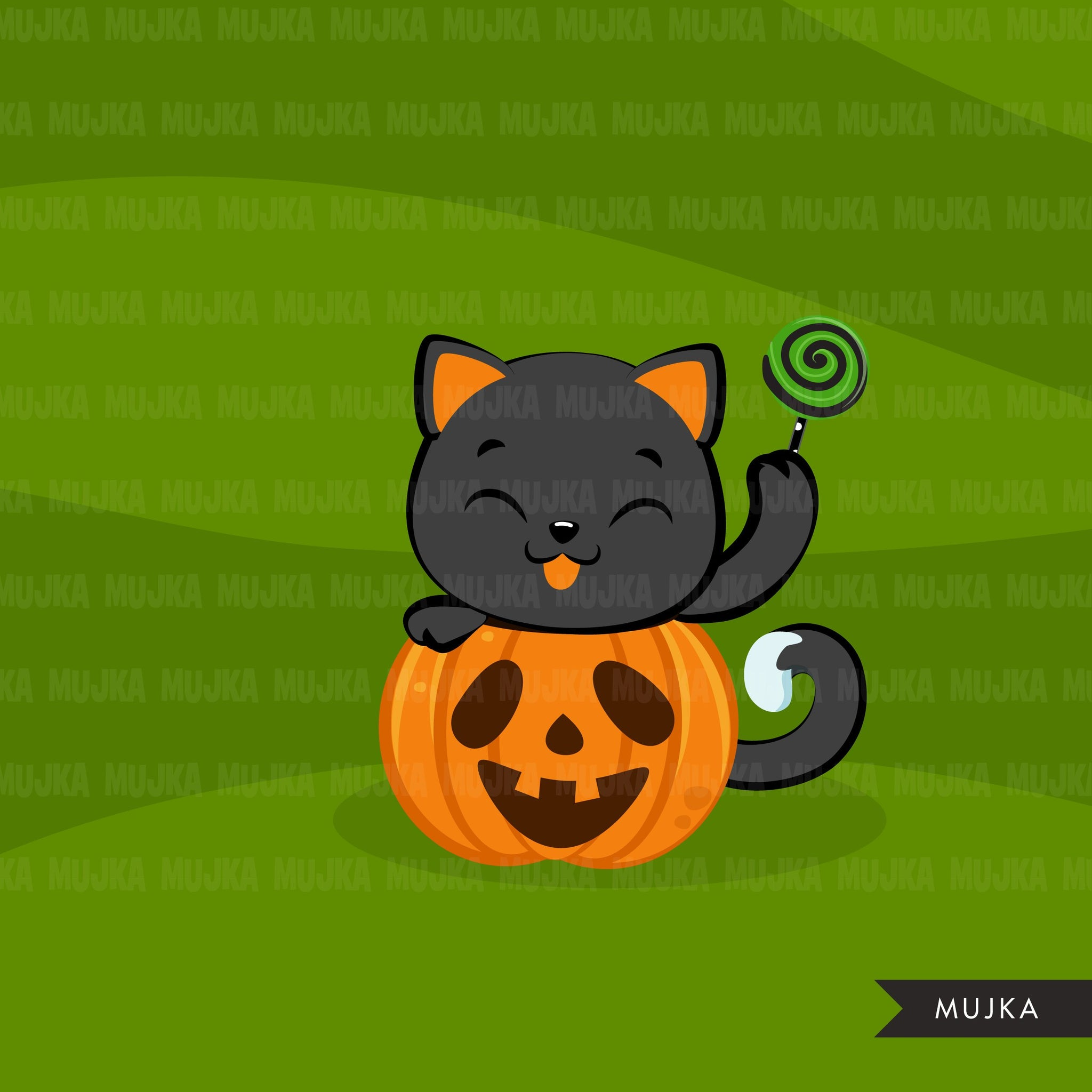 Halloween cats clipart, Black cat, trick or treat graphics, animal clip art
