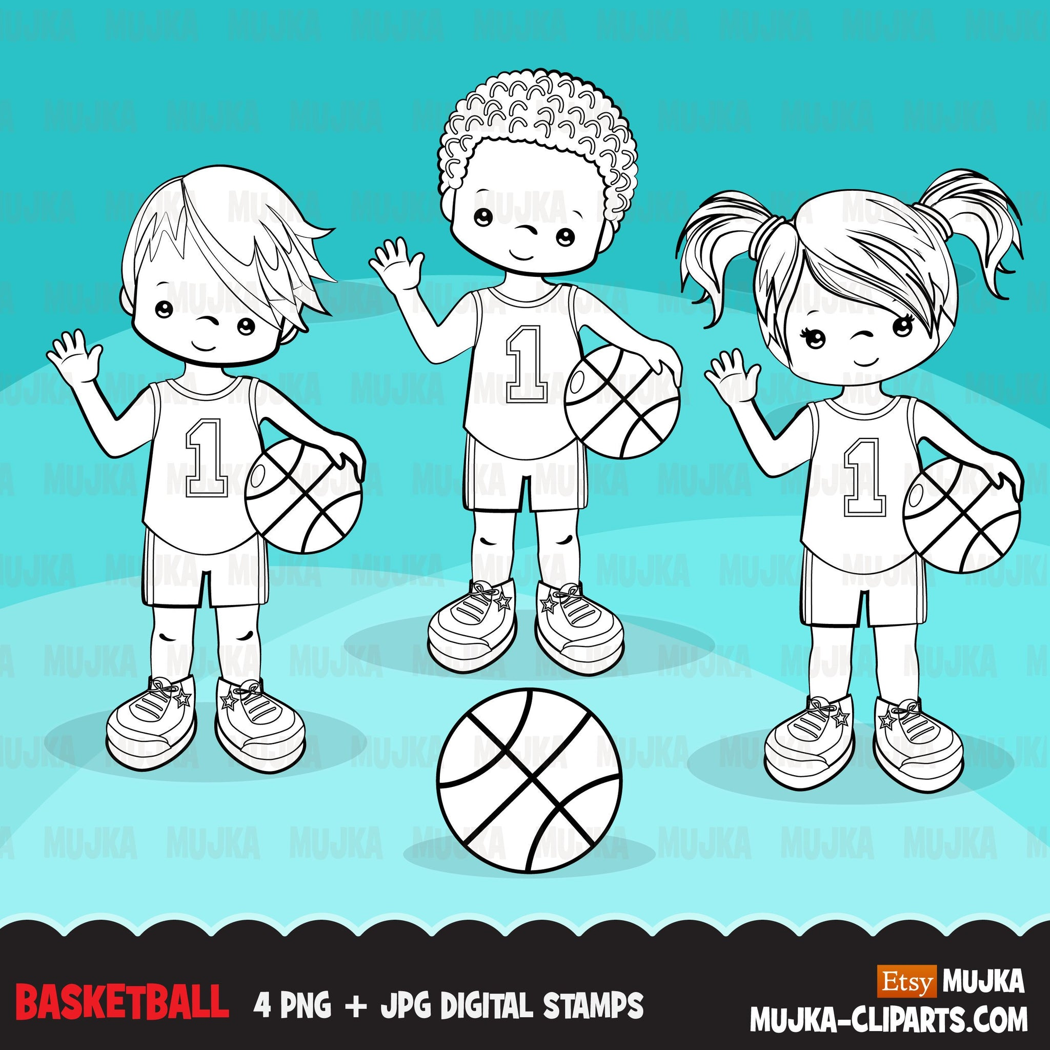 Basketball players Digital Stamps, Sports Graphics, B&W clip art outline