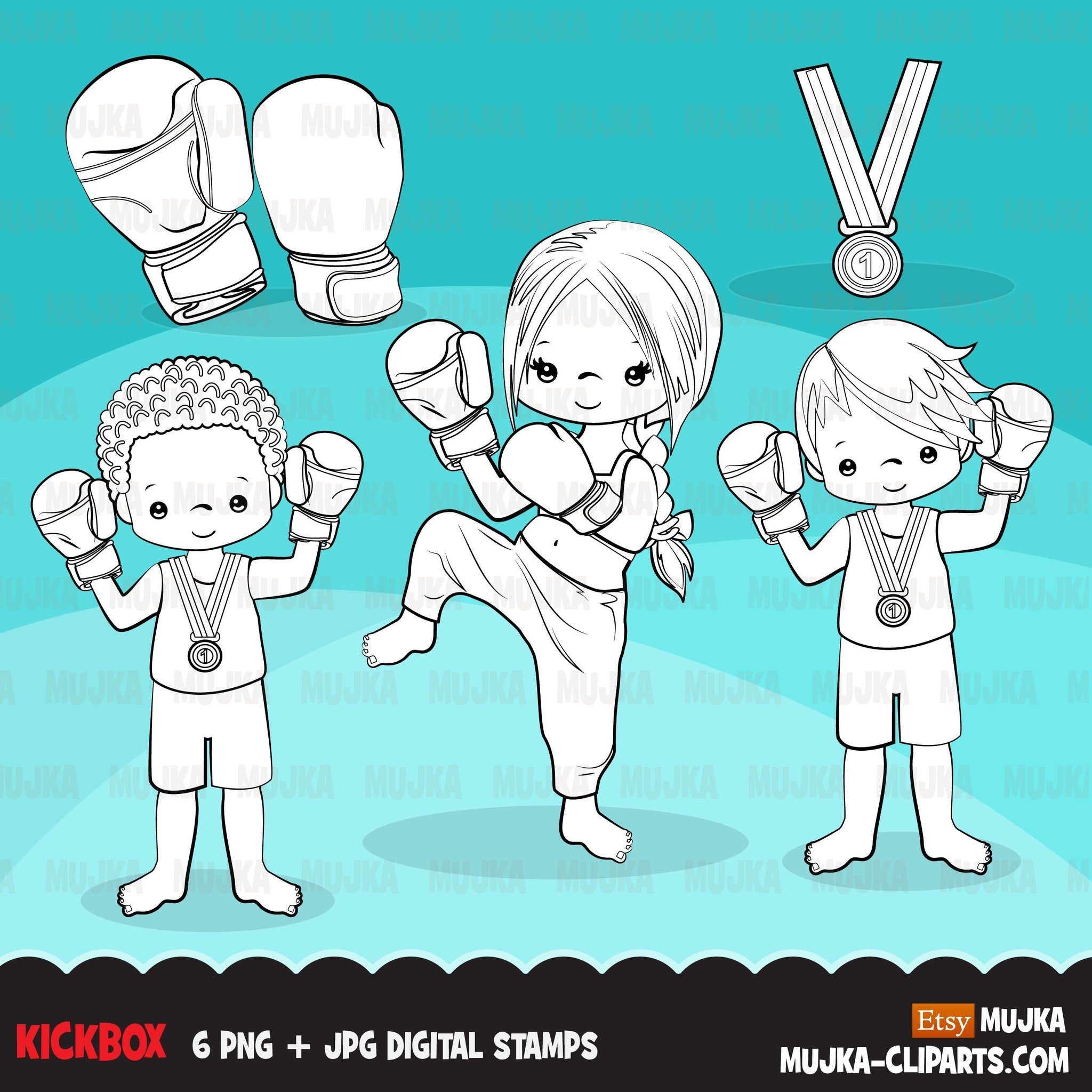 Kickboxing Digital Stamps, Sports Graphics, B&W clip art outline kickbox, boxing gloves
