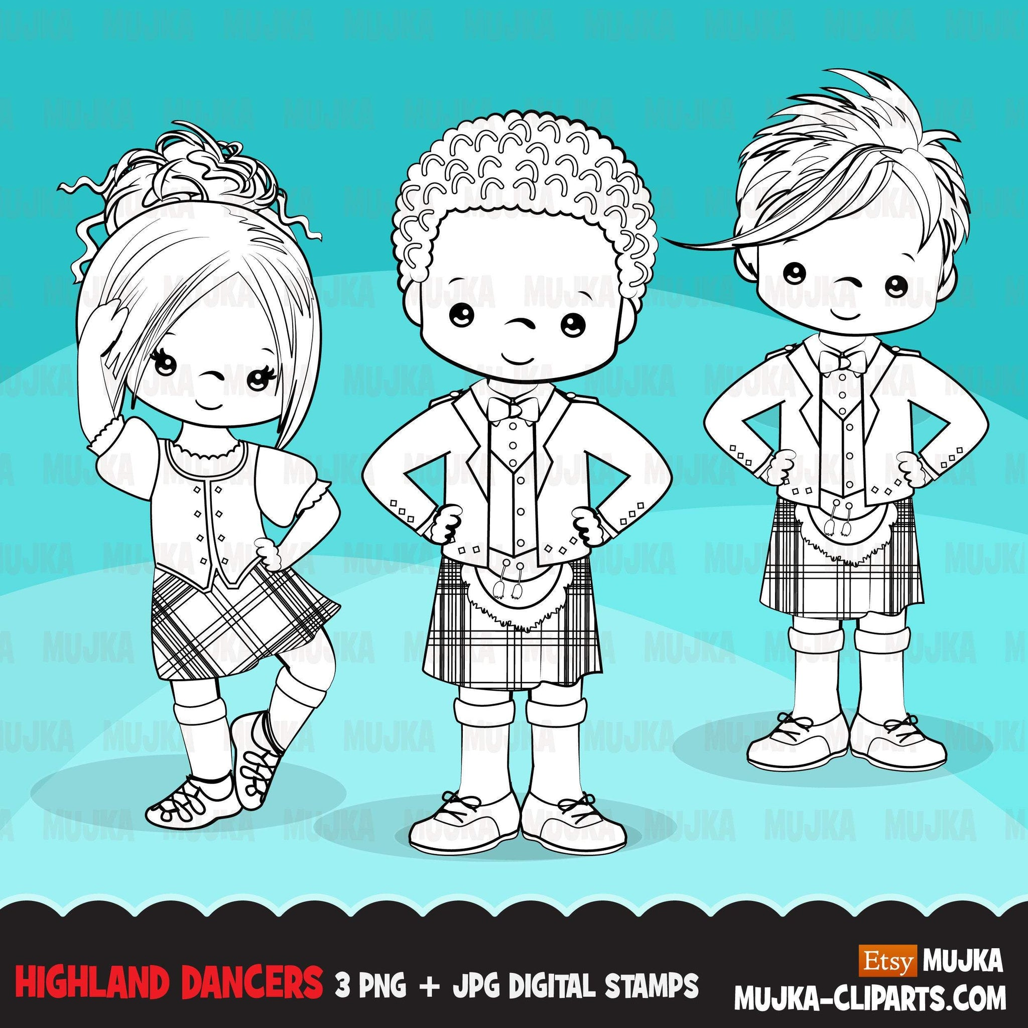 Highland dancers digital stamps, Cute Scottish dancers with kiltie, school activity, Scottish tradition graphic, B&W clip art outline