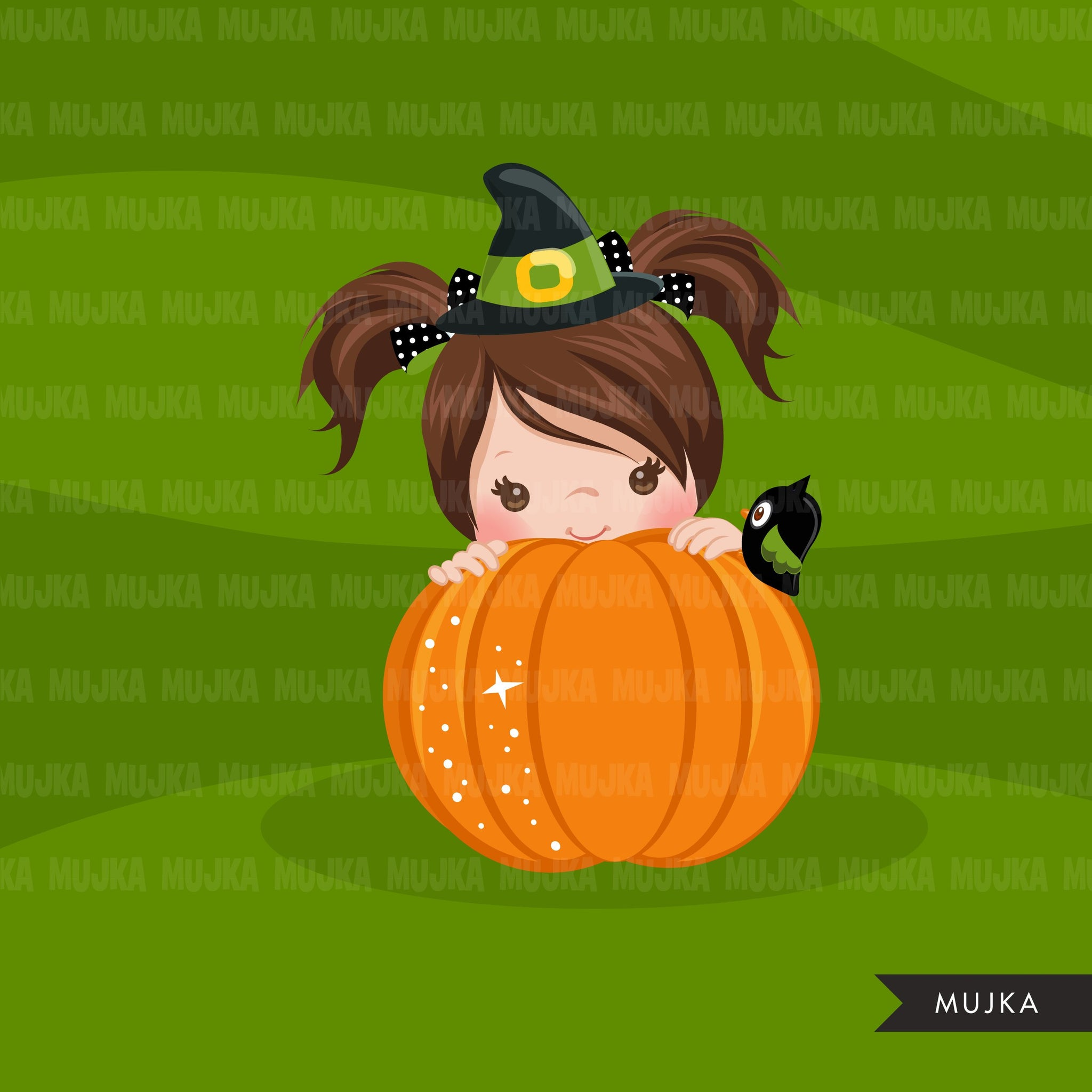 Halloween peek a boo peeking girls clipart.  Cute kids peeking on pumpkin