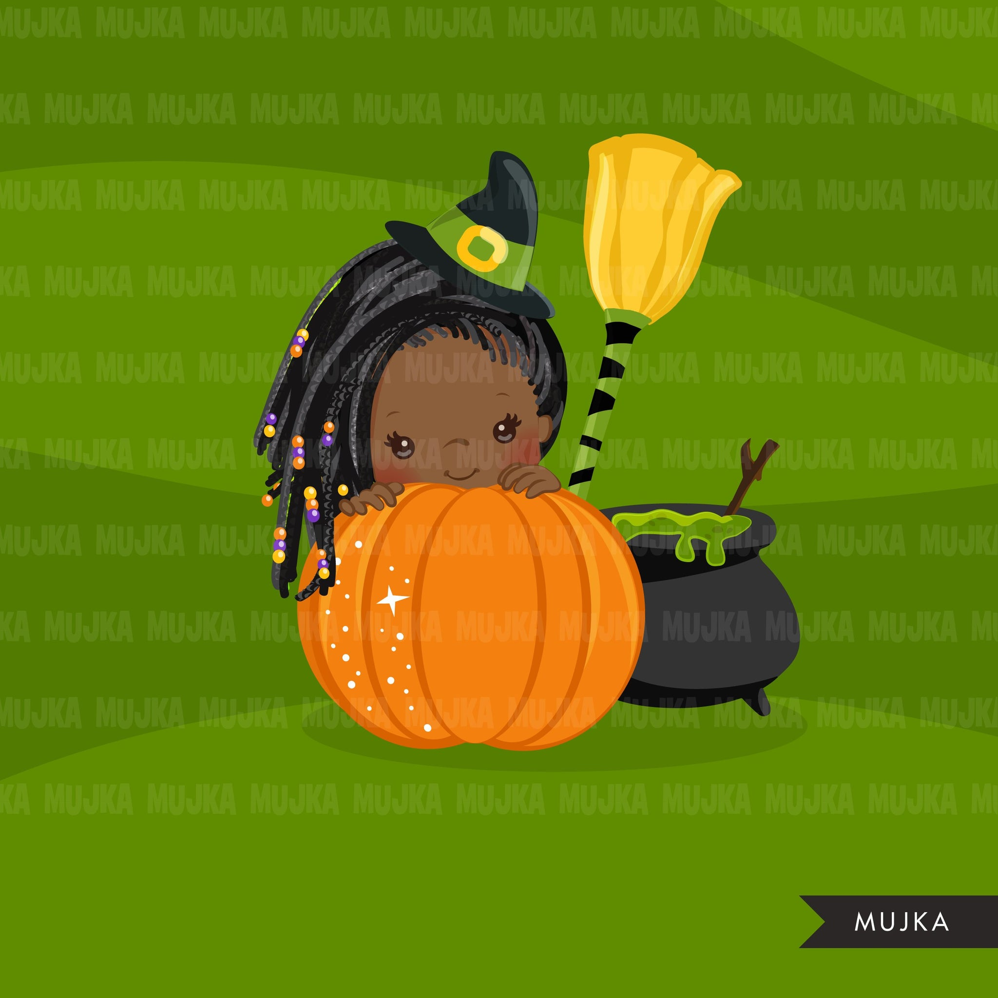 Halloween peek a boo peeking girls clipart.  Afro black Cute kids peeking on pumpkin