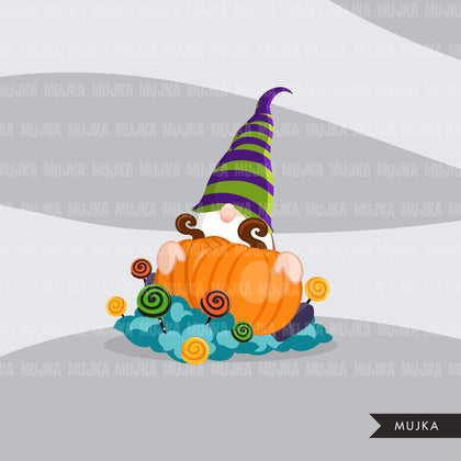 Halloween gnomes Clipart, Scandinavian Gnome graphics, pumpkin, witch hat, cute characters clip art