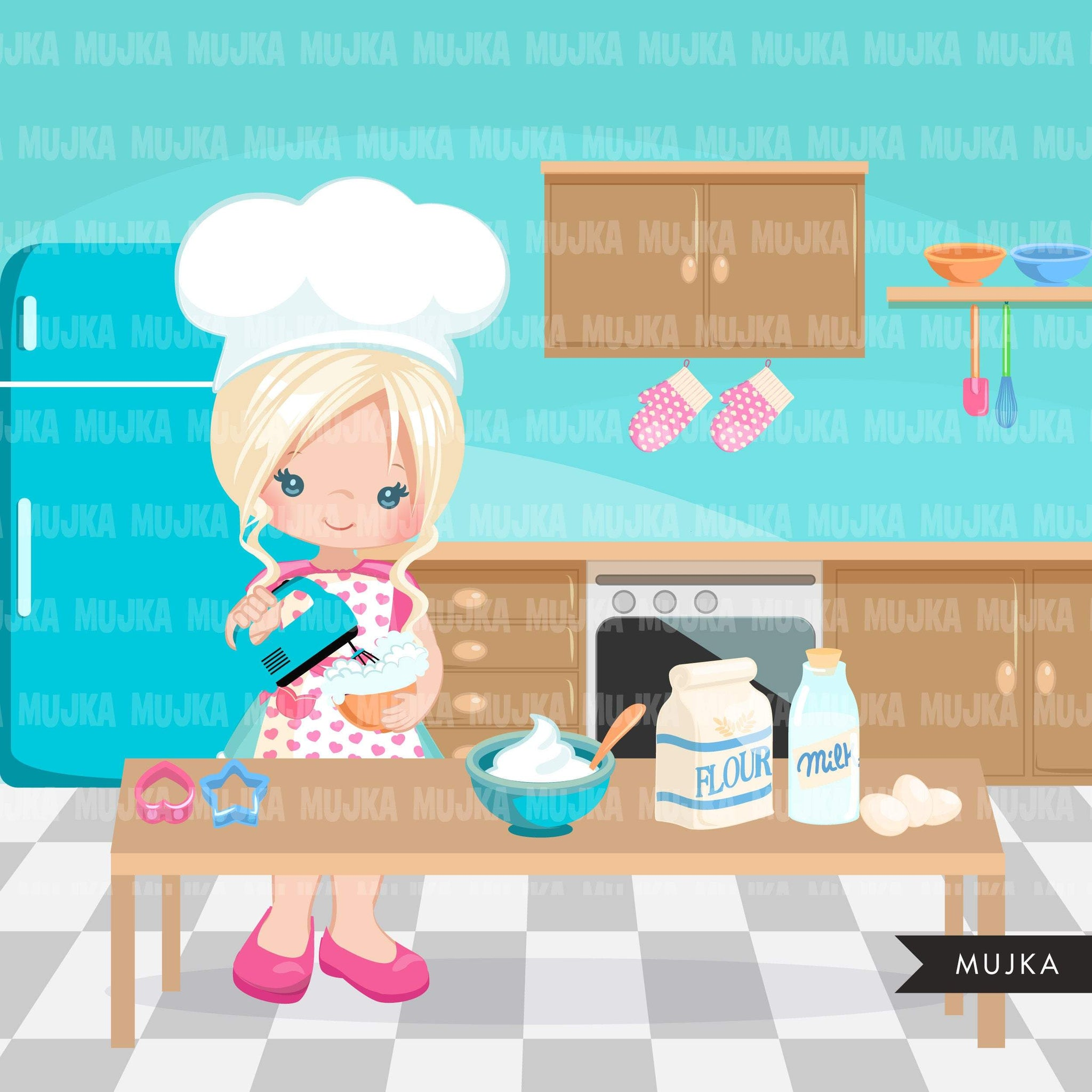 Baking Clipart, little baker girls, pastry chef, cake and cookie graphics