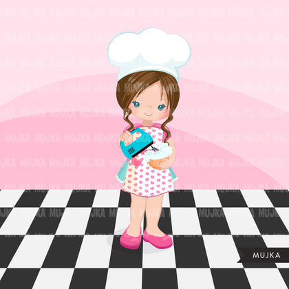 Baking Clipart, Cute baker girls with baking tools