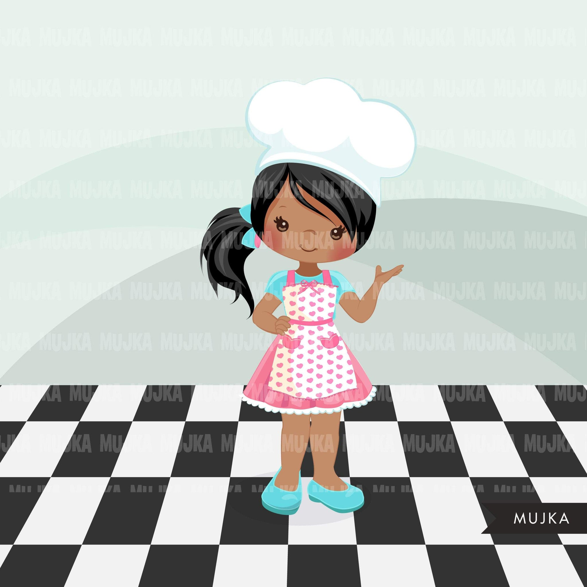 Baking Clipart, little girls with chef hat