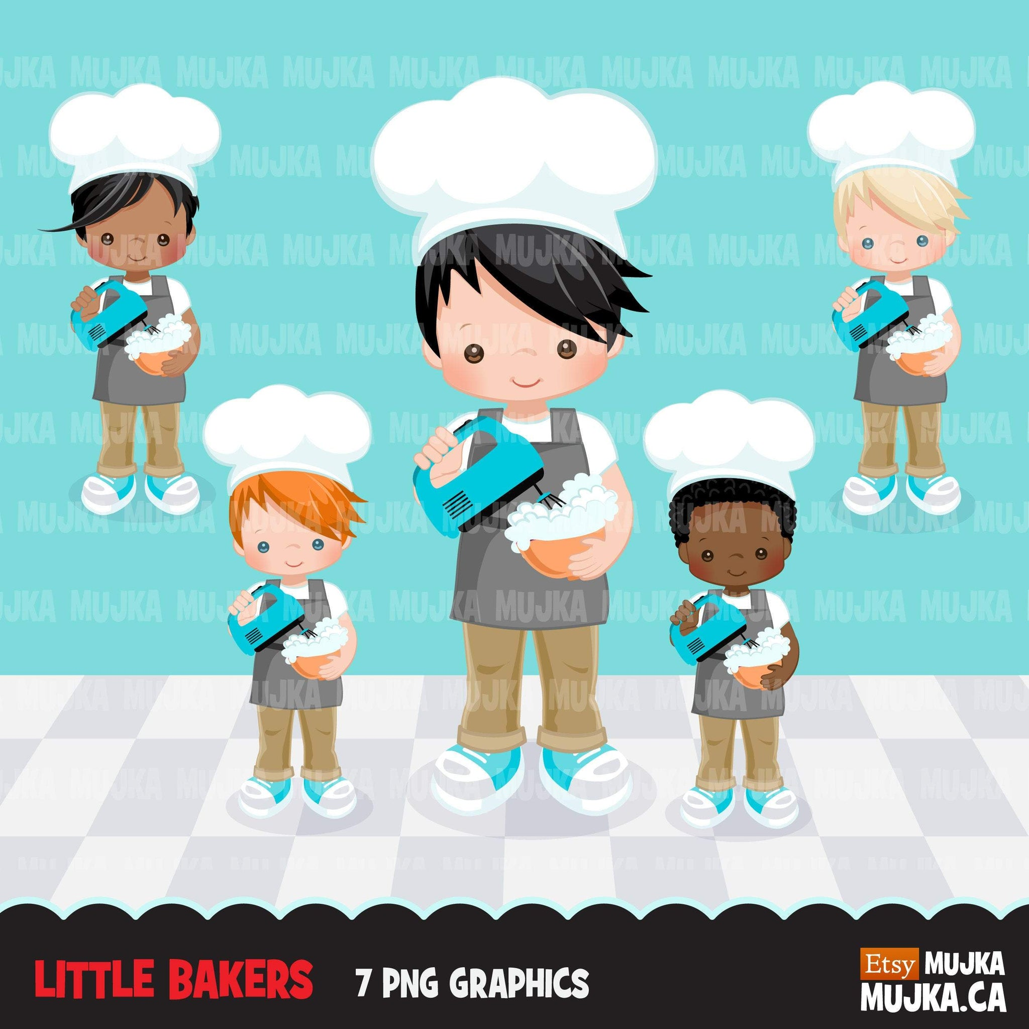 Baking Clipart, Cute baker boy characters, kitchen chores, baking party, cake pastry chef, cookie graphics, baking fun clip art