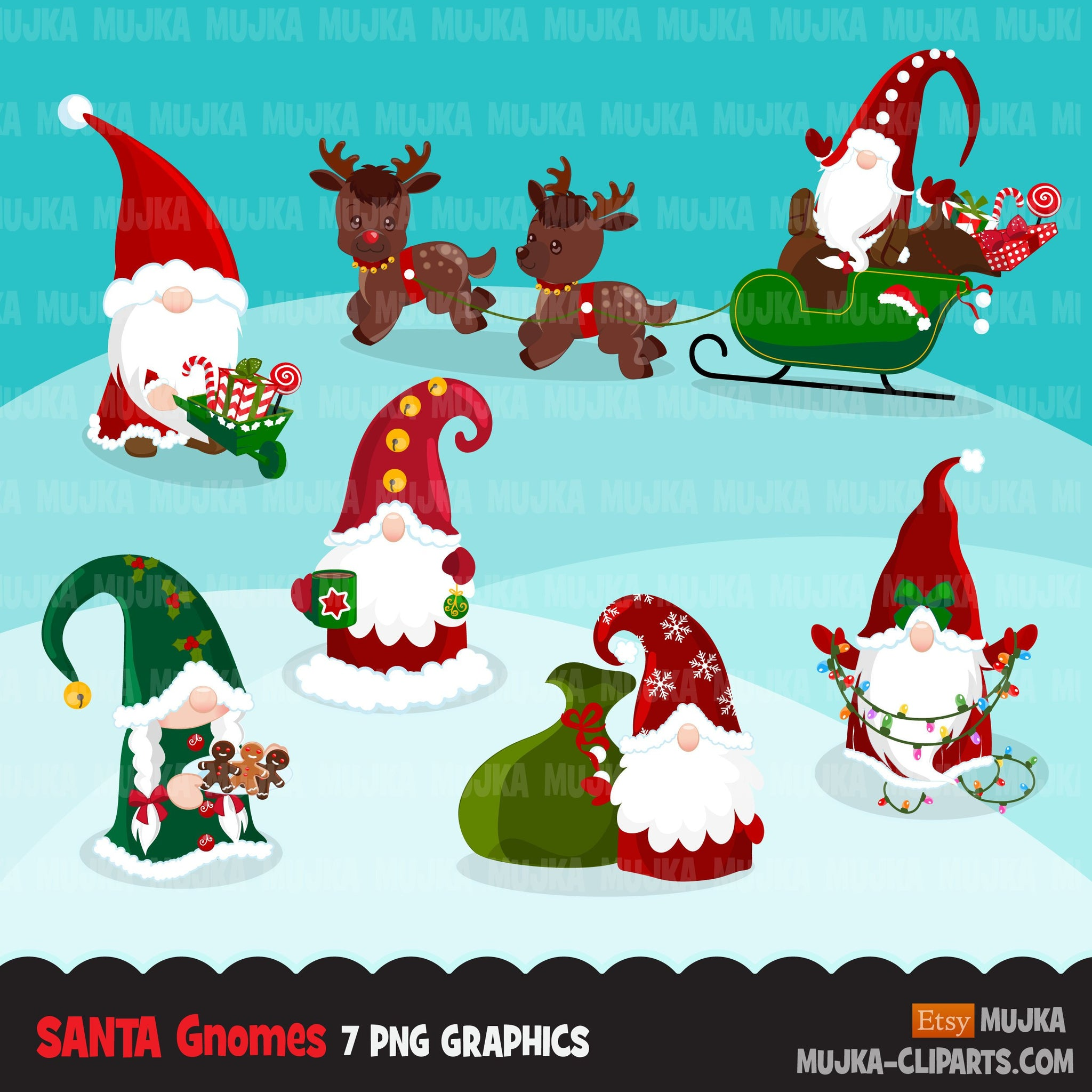 Christmas Santa gnomes Clipart, Scandinavian Gnome graphics, illustration, Holiday, noel, cute characters clip art