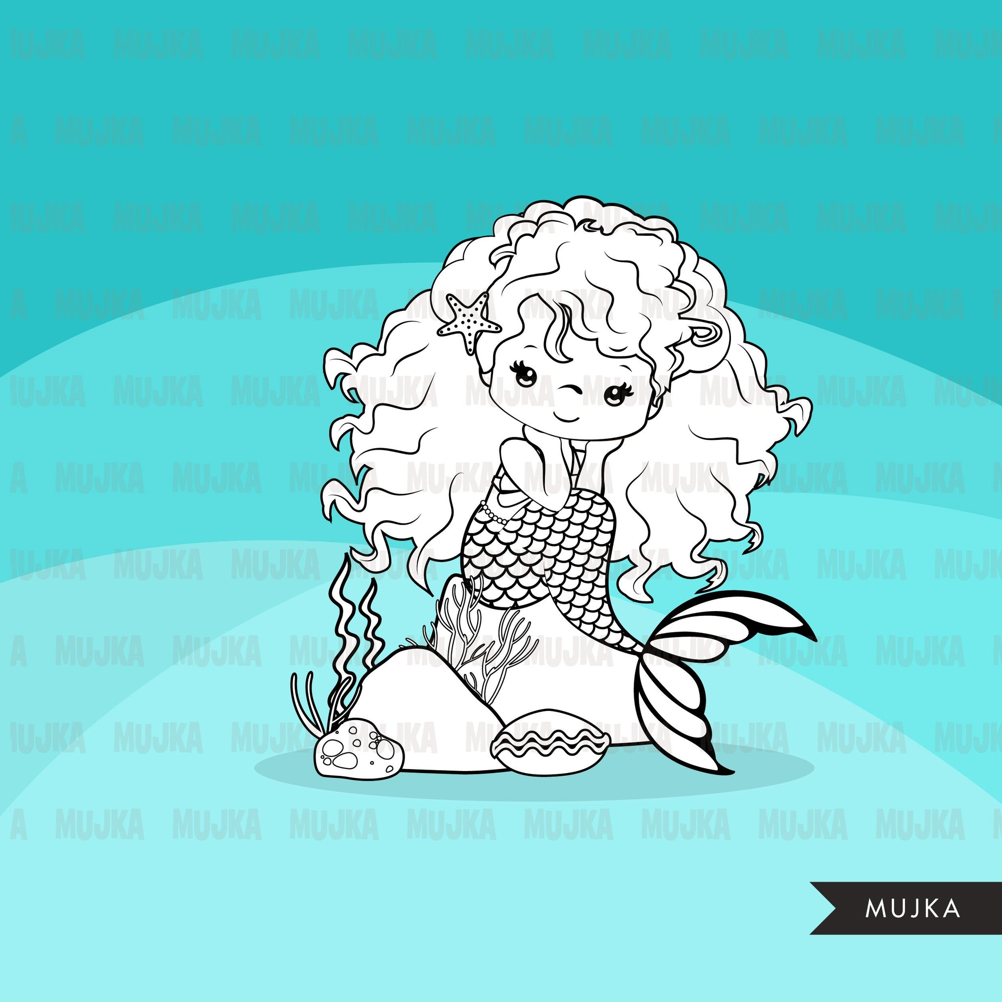 Mermaid Digital stamps, afro mermaid princess, birthday party, coloring page, favors, toppers, clip art B&W clip art outline