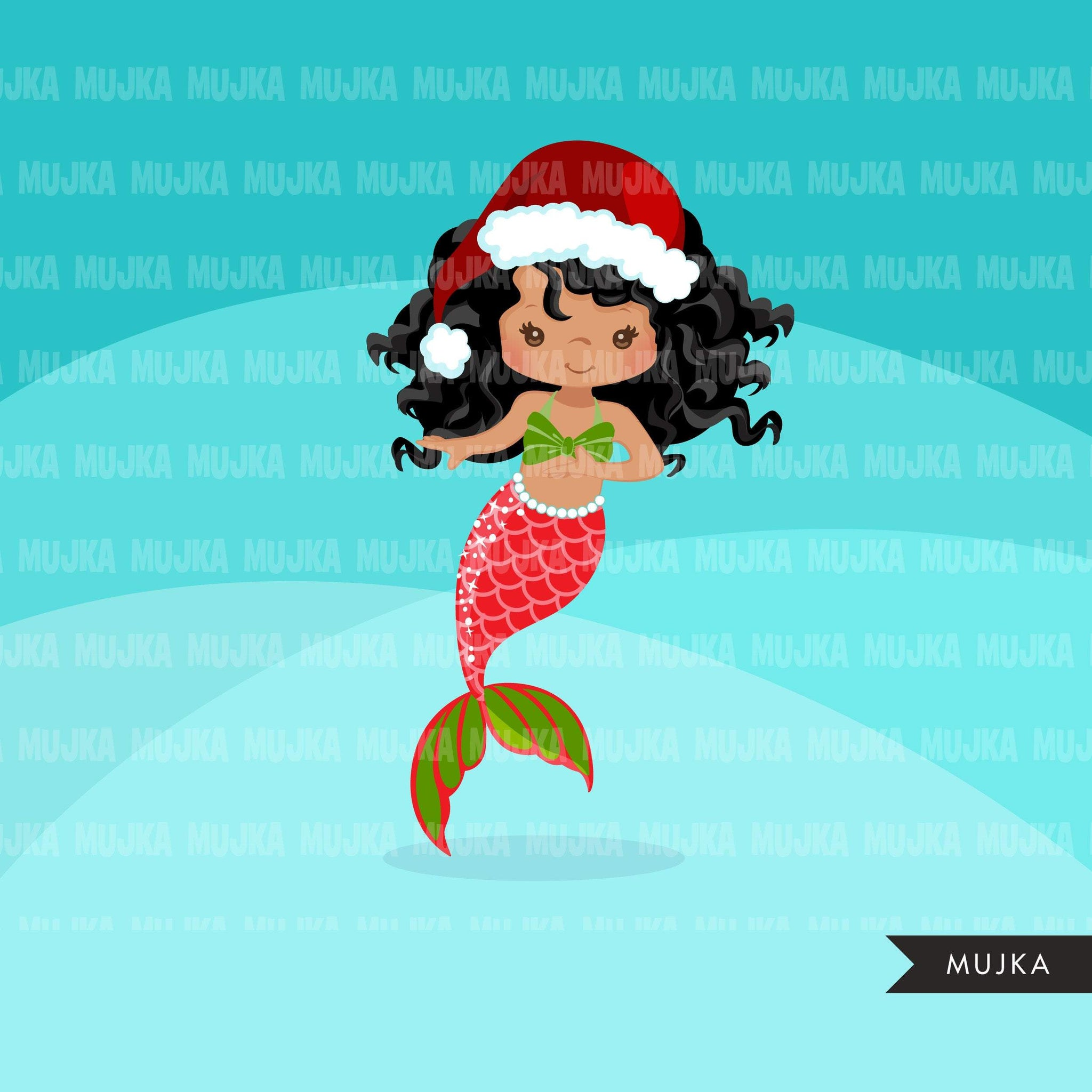 Christmas Mermaid clipart, holiday mermaid graphics, mermaid princess, birthday party, african american girl, clip art