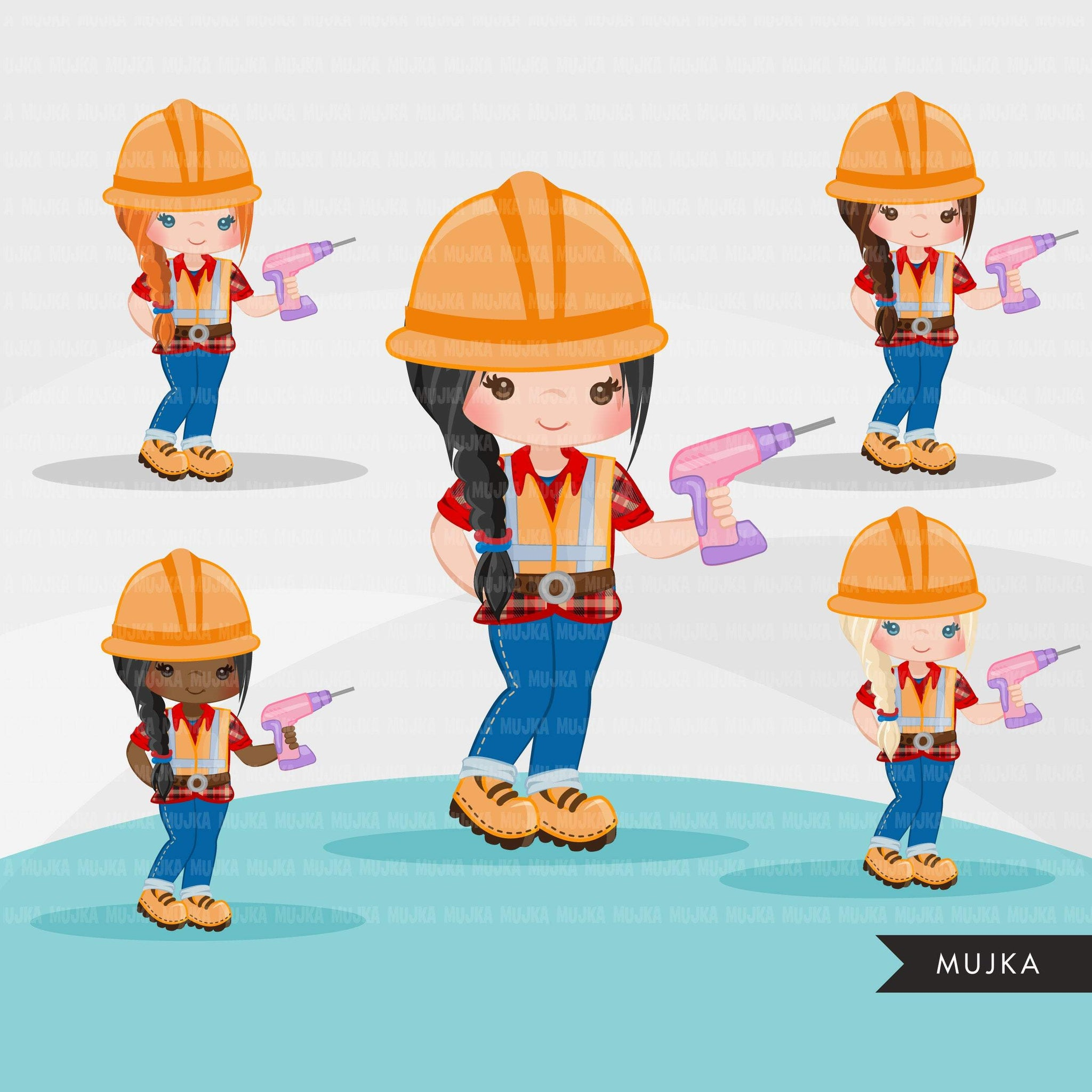 Construction Clipart, Little girl contractor, hard hat, dump truck, crane, excavator, bulldozer vehicle, tools, drill, safety jacket