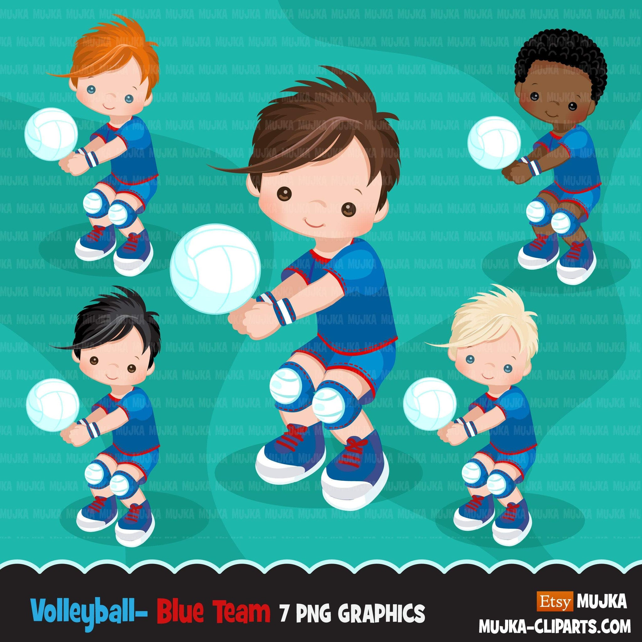 Volleyball players clipart, african american boy, card making, planner stickers, activity, outdoor sports, school clip art