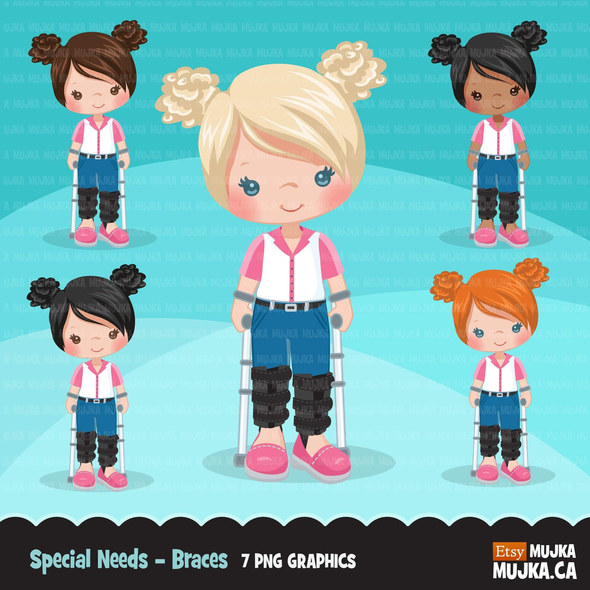 Special Needs leg braces clipart, disability, girl characters with walkers, african american, card making, planner sticker, disable clip art
