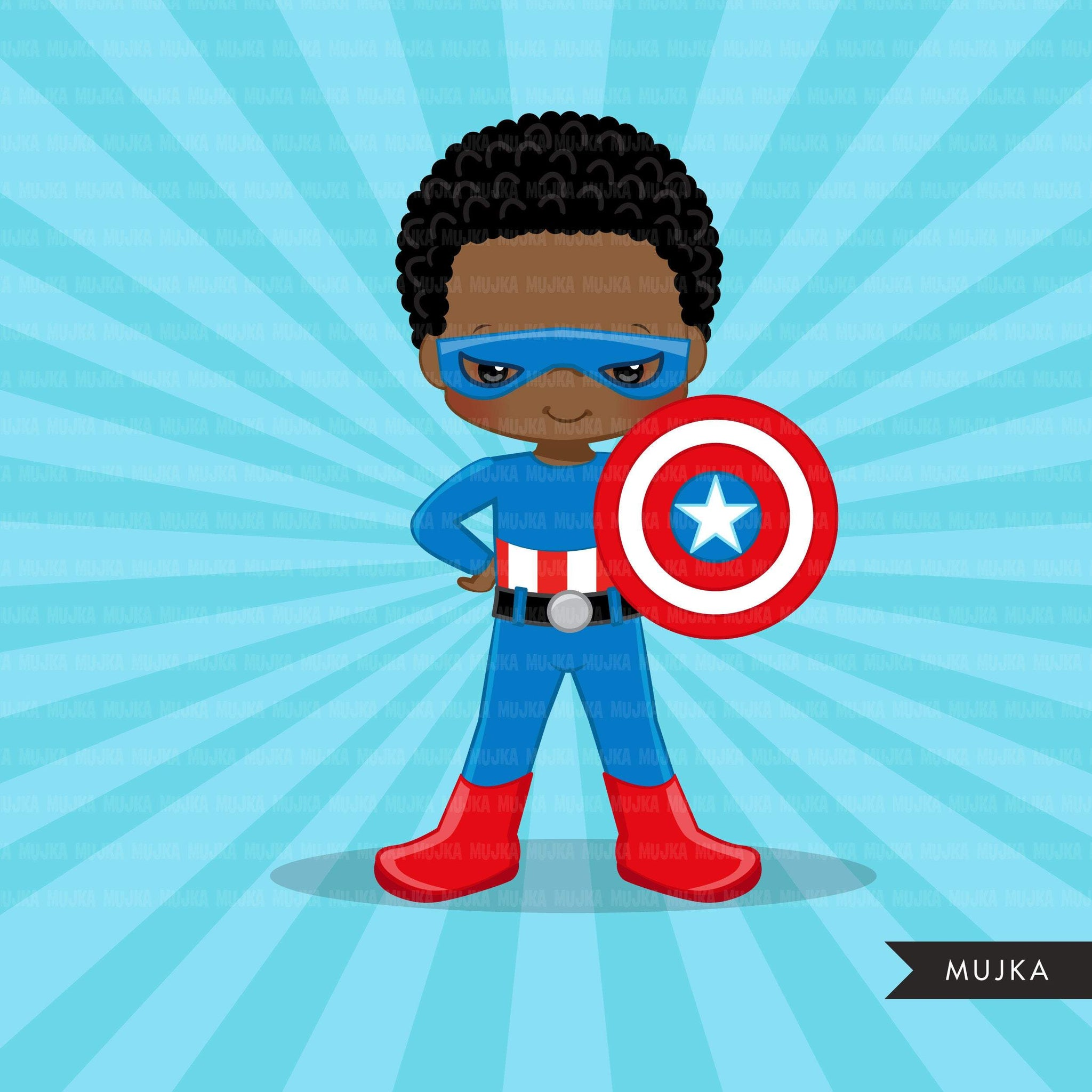 Black Superhero boys Clipart splash background & cute characters