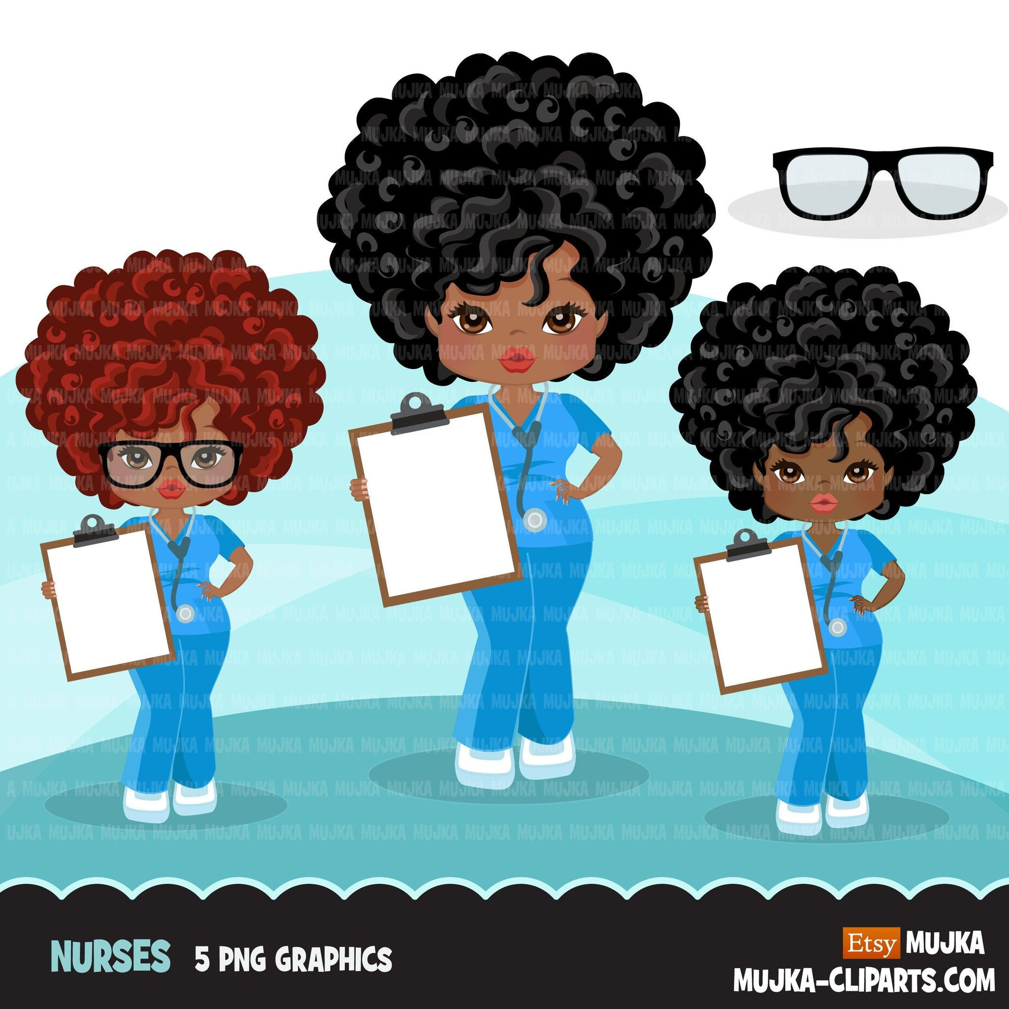 Afro black woman nurse clipart with scrubs and patient chart African-American graphics, print and cut PNG T-Shirt Designs, Black Girls clip art